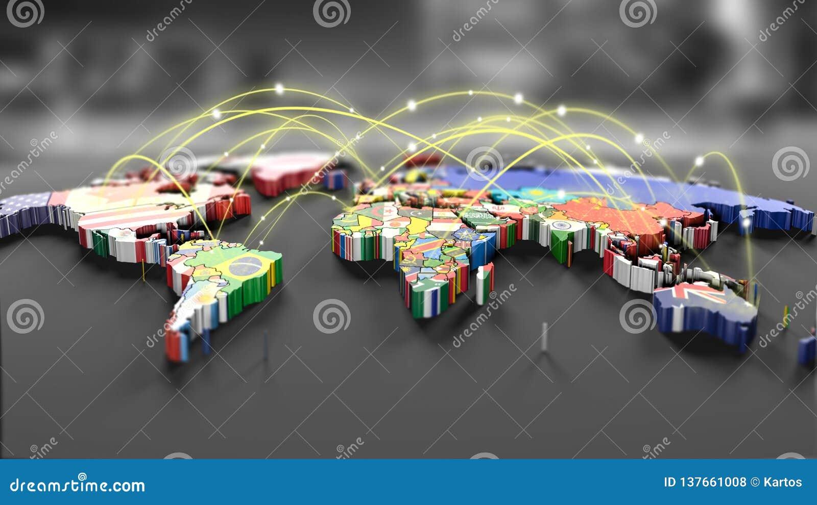 Linhas da conexão em torno do mapa com todas as bandeiras de país