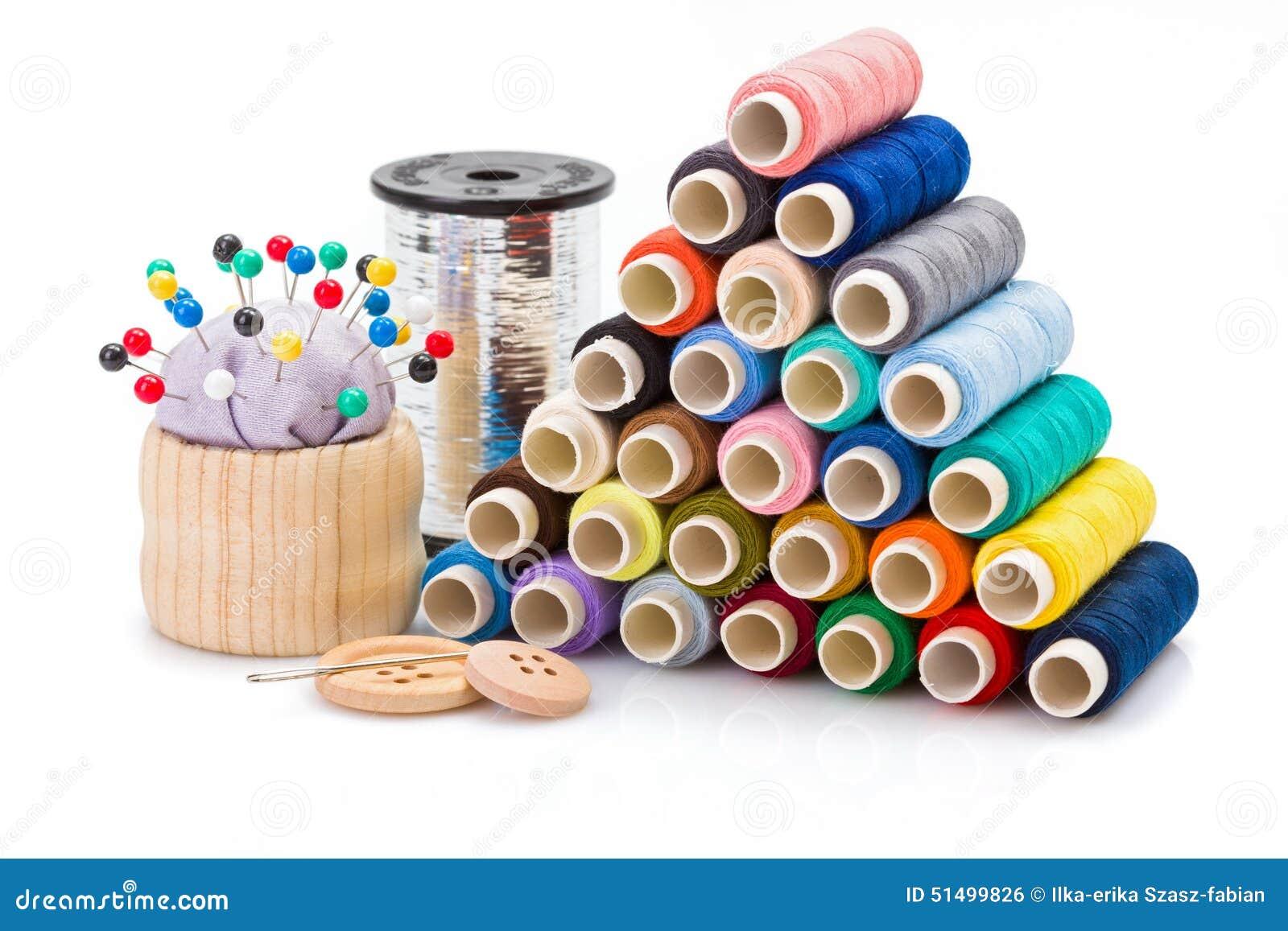 Linhas De Costura Coloridas E Outros Acessórios Da Costura