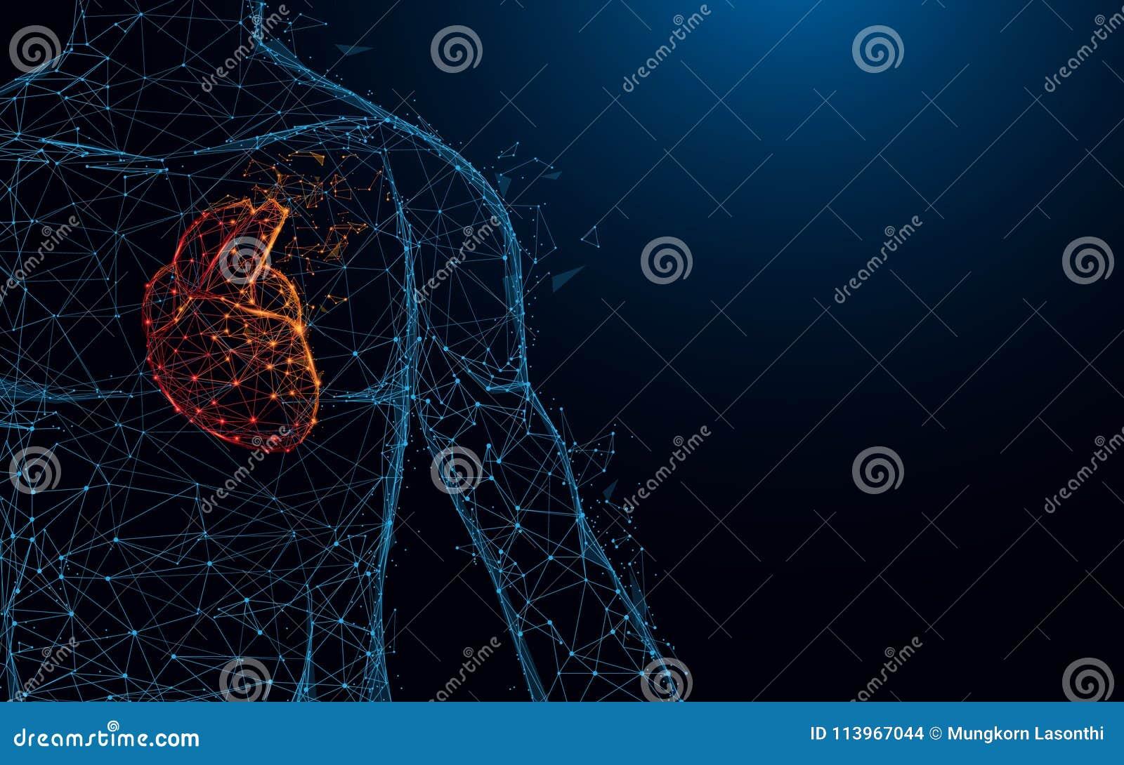 Linhas do formulário da anatomia do coração e triângulos humanos, rede de conexão do ponto no fundo azul
