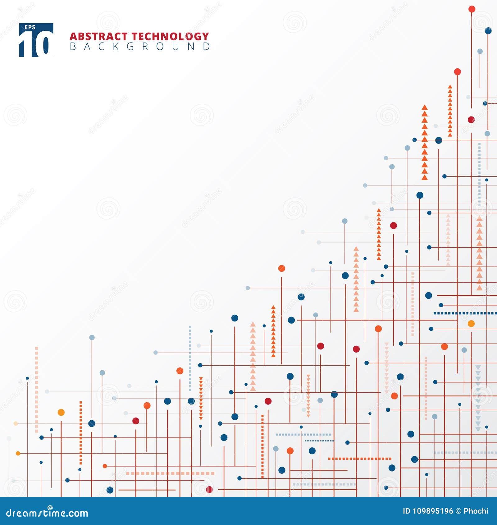 Linhas geométricas d da cor azul e vermelha de tecnologia digital abstrata