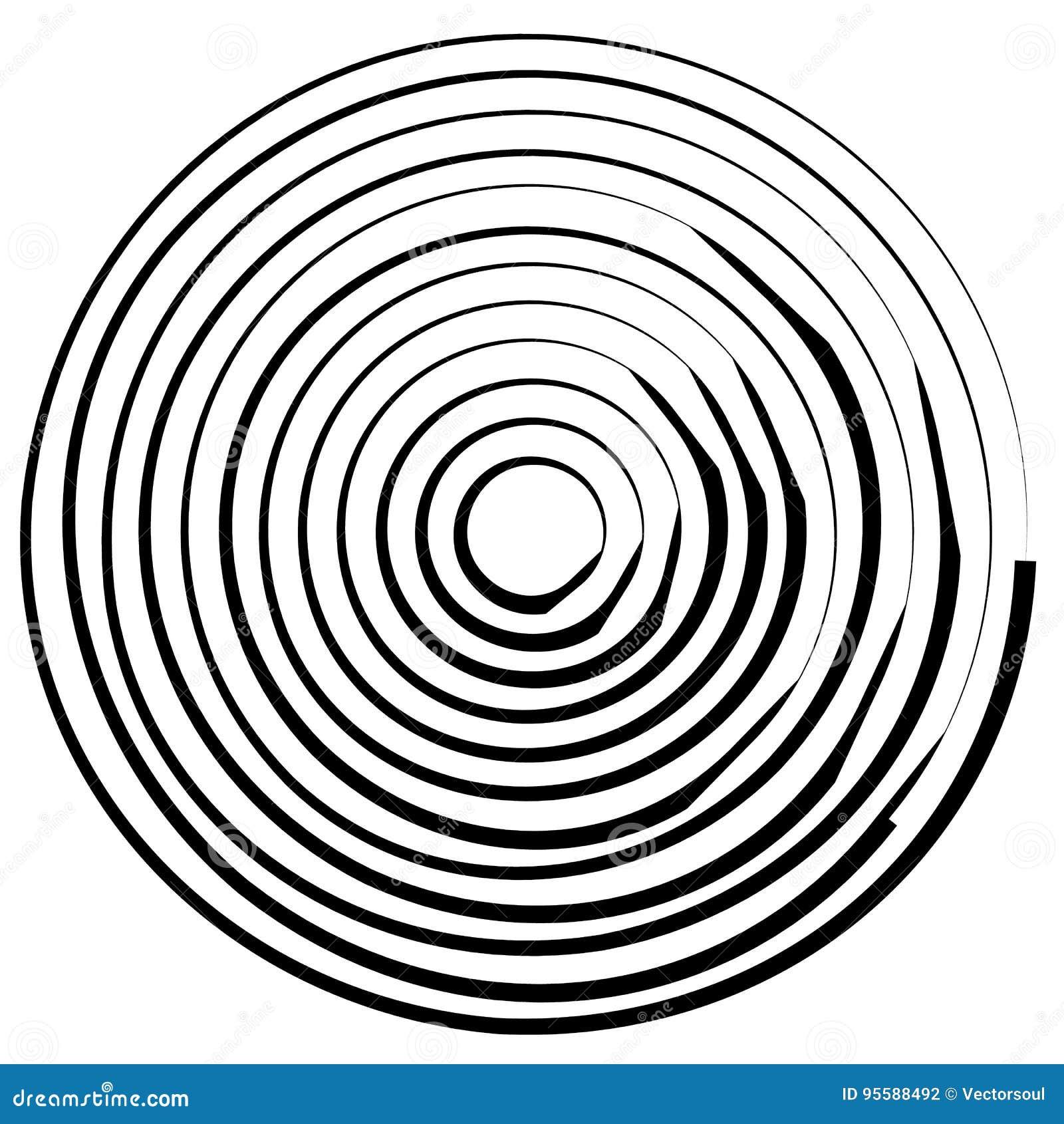 Linhas radiais com distorção de giro Espiral abstrata, redemoinho s