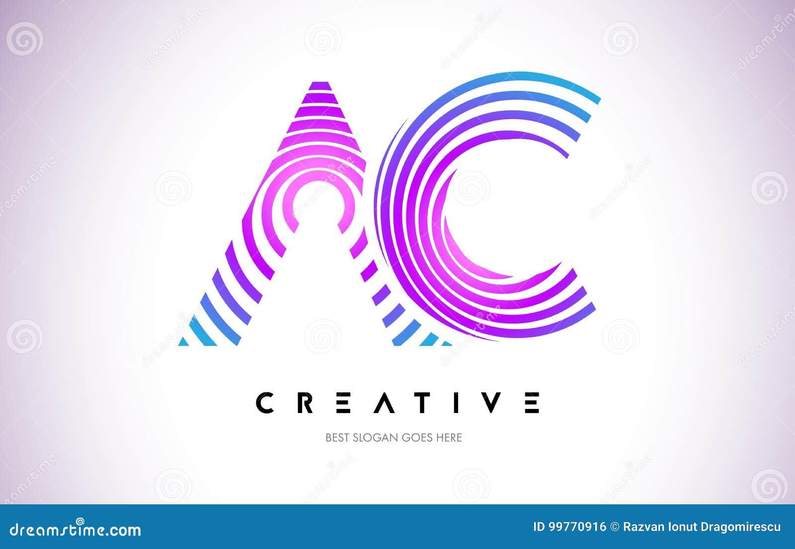 Linhas urdidura Logo Design da C.A. Ícone da letra feito com circular roxa