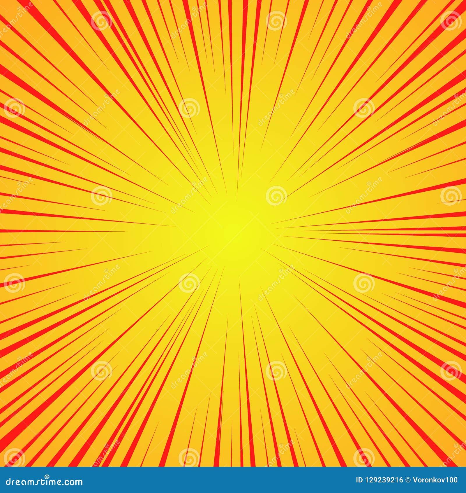 Linhas vermelhas radiais em um fundo amarelo Velocidade da banda desenhada, explosão Sumário Ilustração do vetor para o projeto g