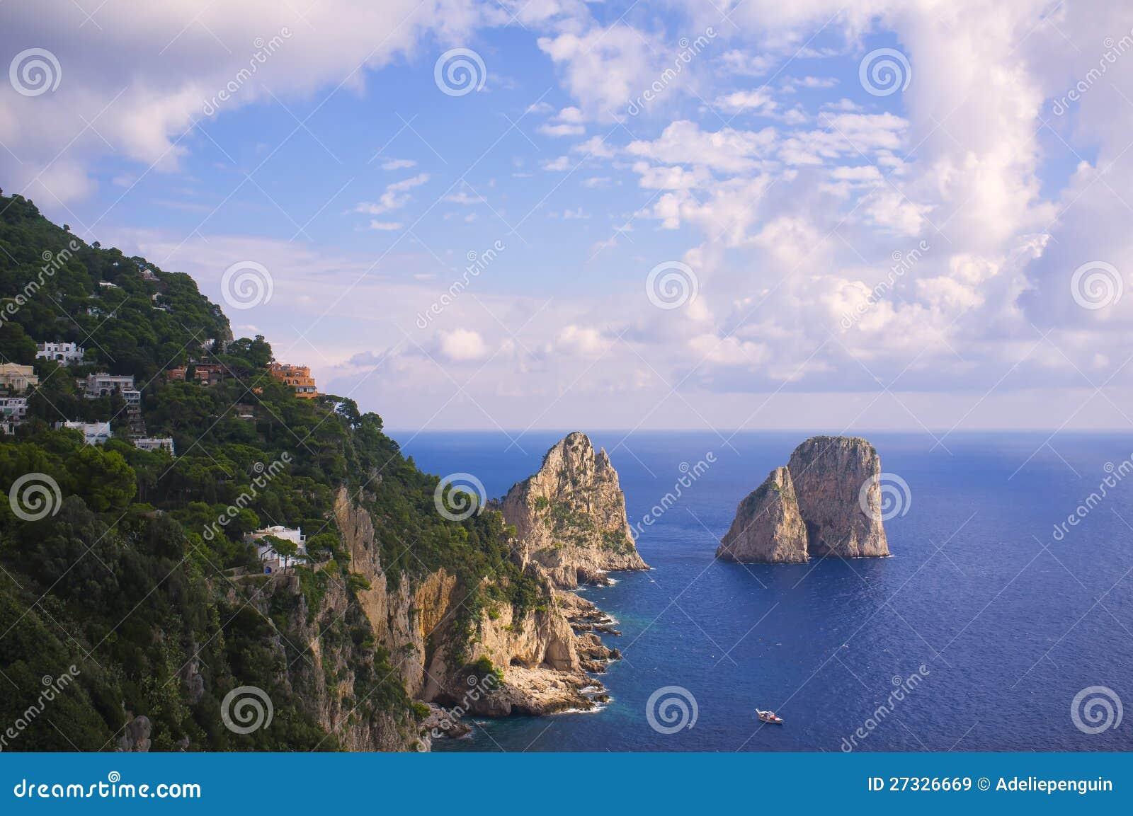 Linia brzegowa niewygładzony Widok, Capri Włochy