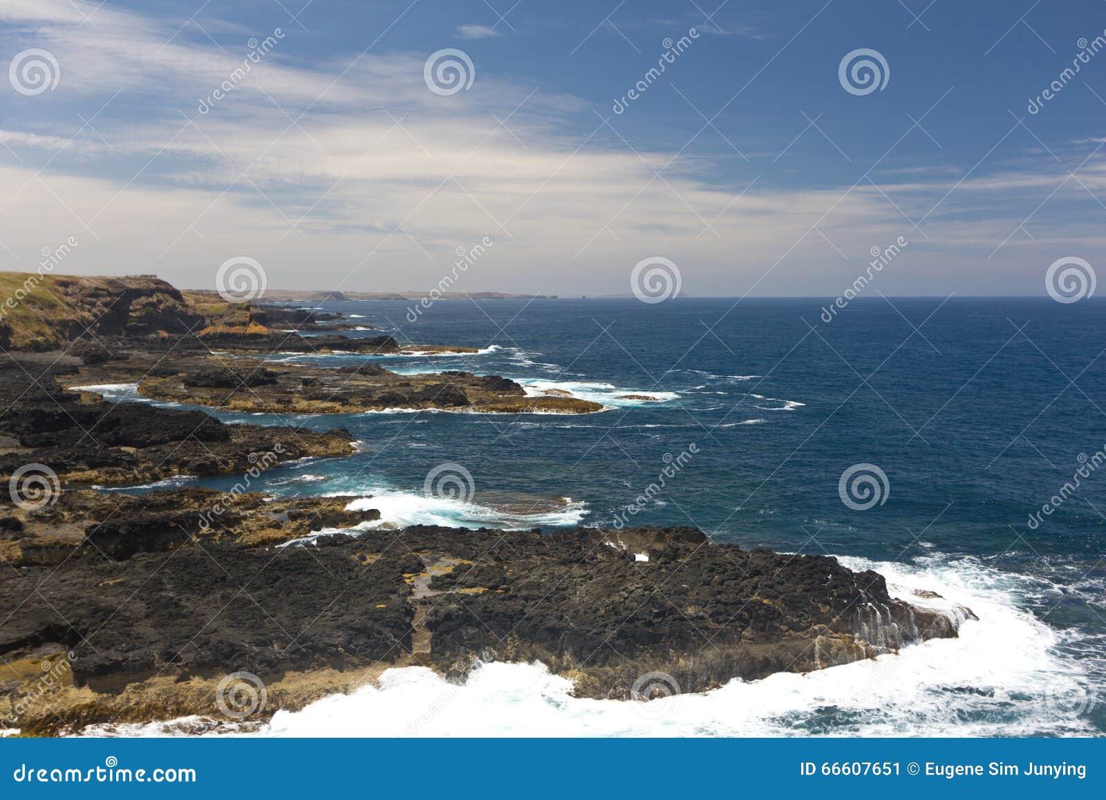 Linia brzegowa Nobbies w Philip wyspie