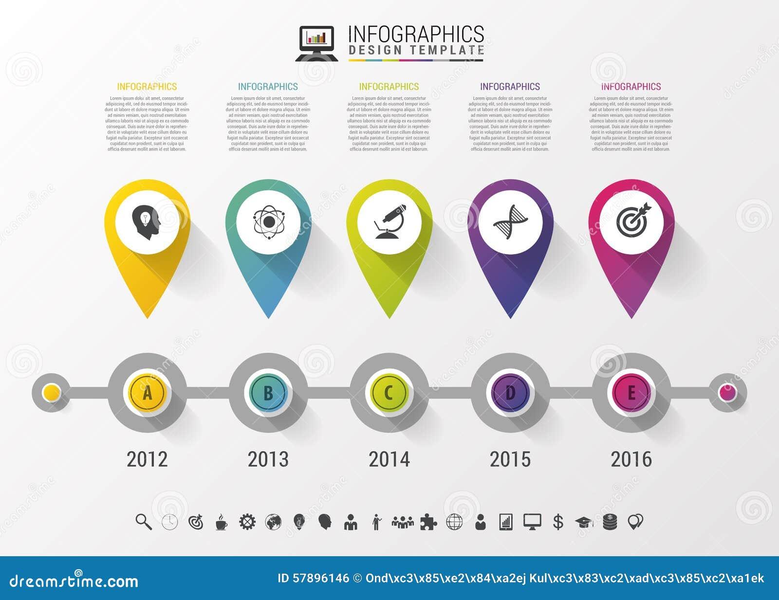 Linia czasu Infographic z pointerami i tekst w nowożytnym stylu gdy projekta ładny część stiker szablon używać wektor twój