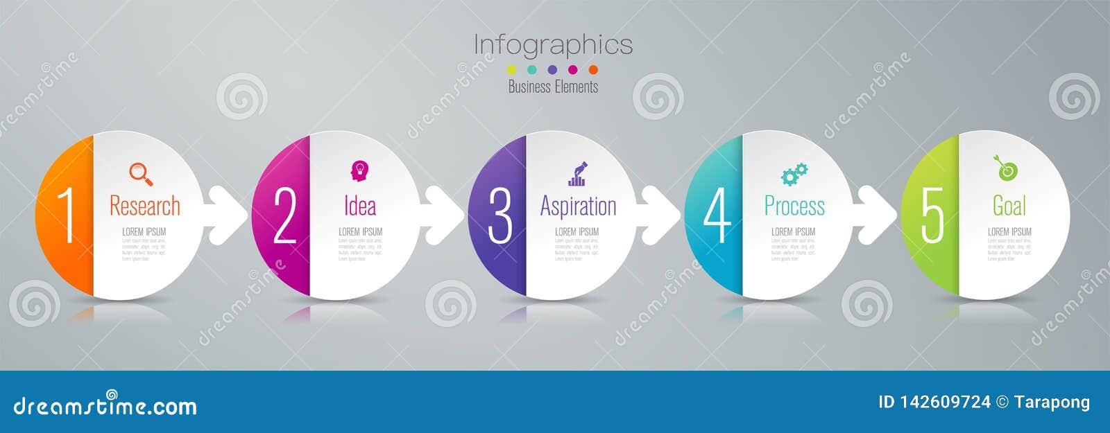 Linia czasu infographics projekta wektor, marketingowe ikony, Biznesowy pojęcie z 5 opcjami, kroki i procesy,