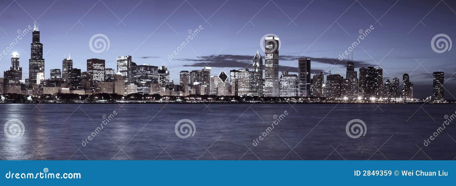 Linia horyzontu chicago nocy