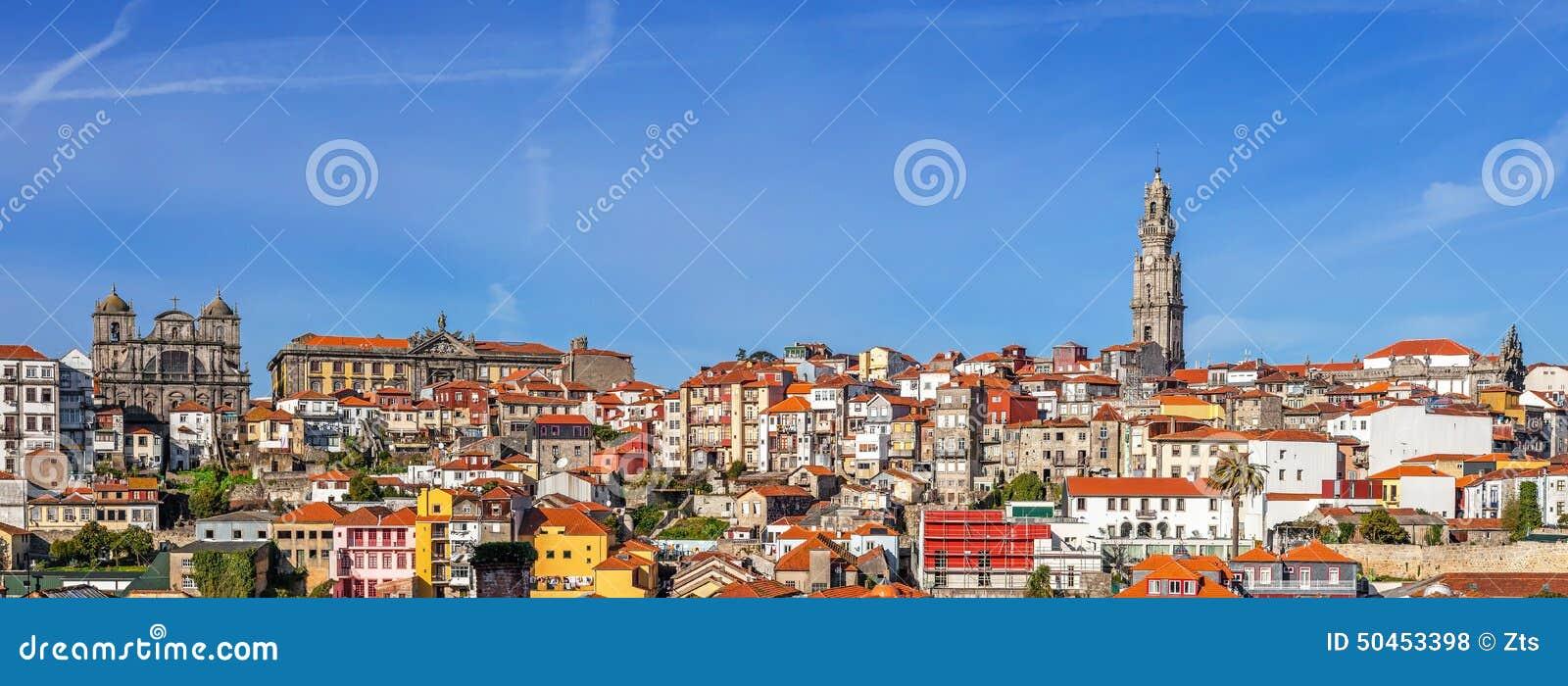 Linia horyzontu i pejzaż miejski miasto Porto w Portugalia