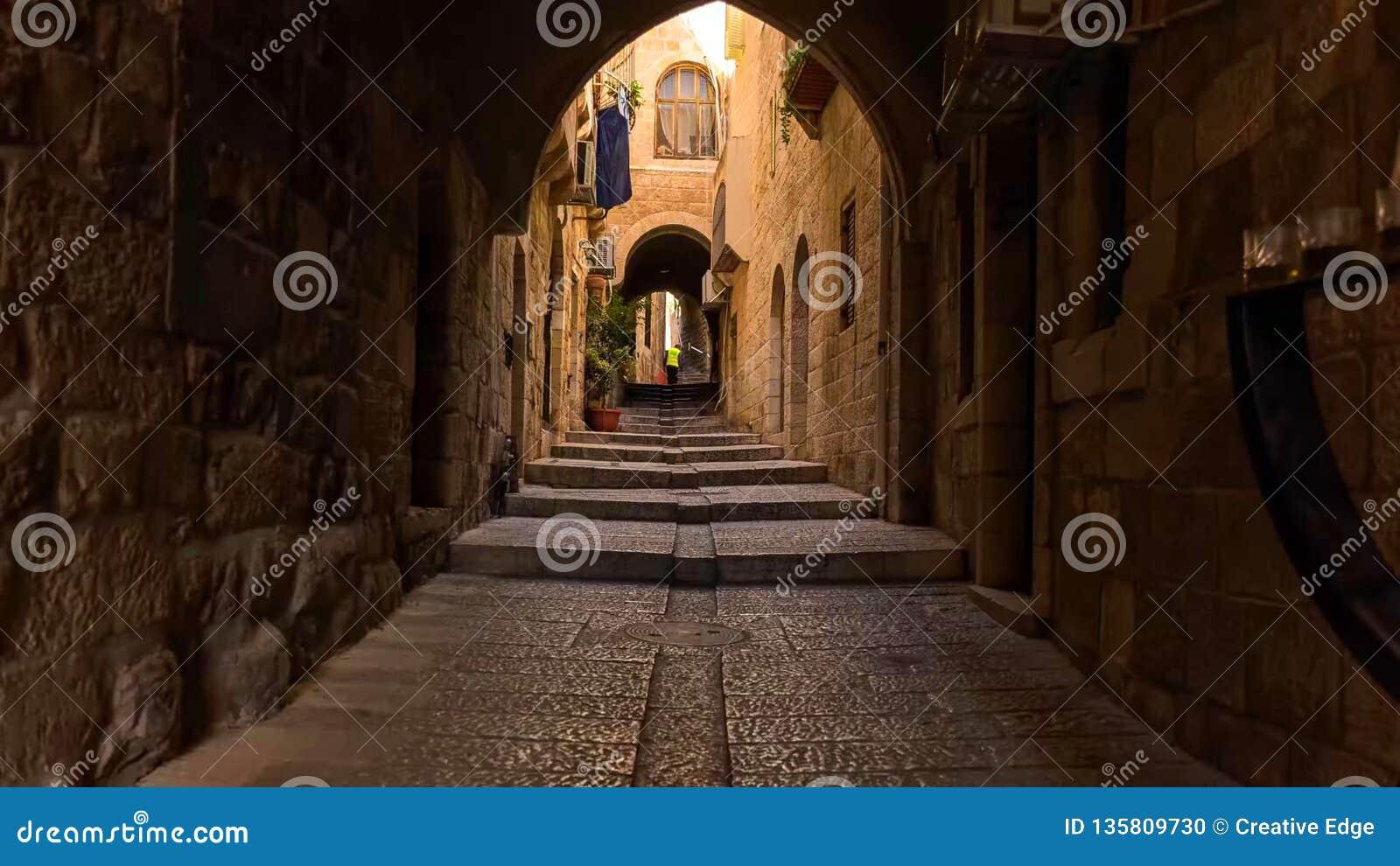 Linia horyzontu Stary miasto przy Zachodnią ścianą Świątynną górą w Jerozolima i, Izrael