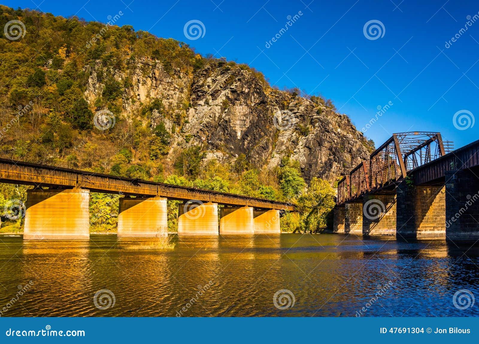 Linia kolejowa mosty nad Potomac Maryland i rzeki wzrostami wewnątrz