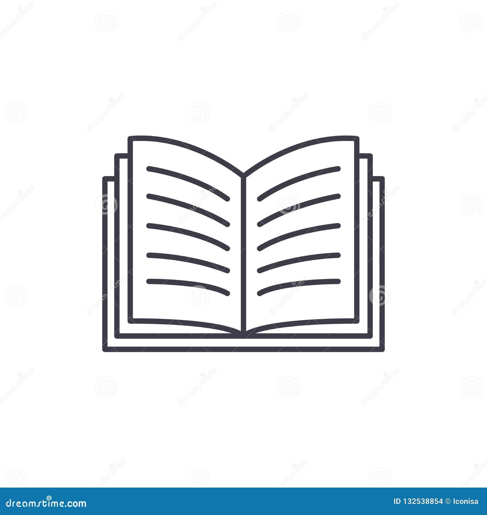 Linie Ikonenkonzept des offenen Buches Lineare Illustration des Vektors des offenen Buches, Symbol, Zeichen