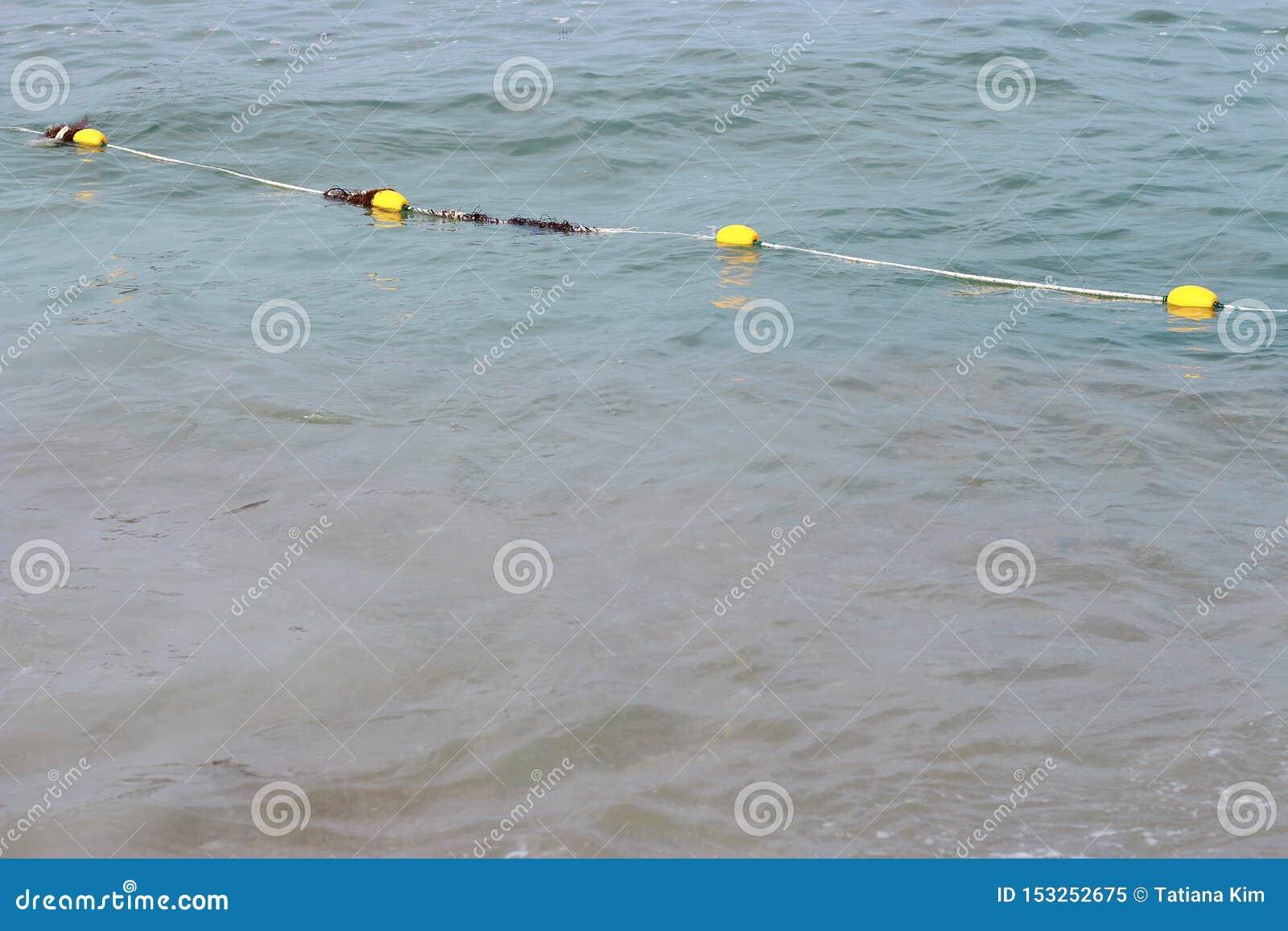 Linie von gelben Bojen in Meer, Konzept der Wassersicherheit