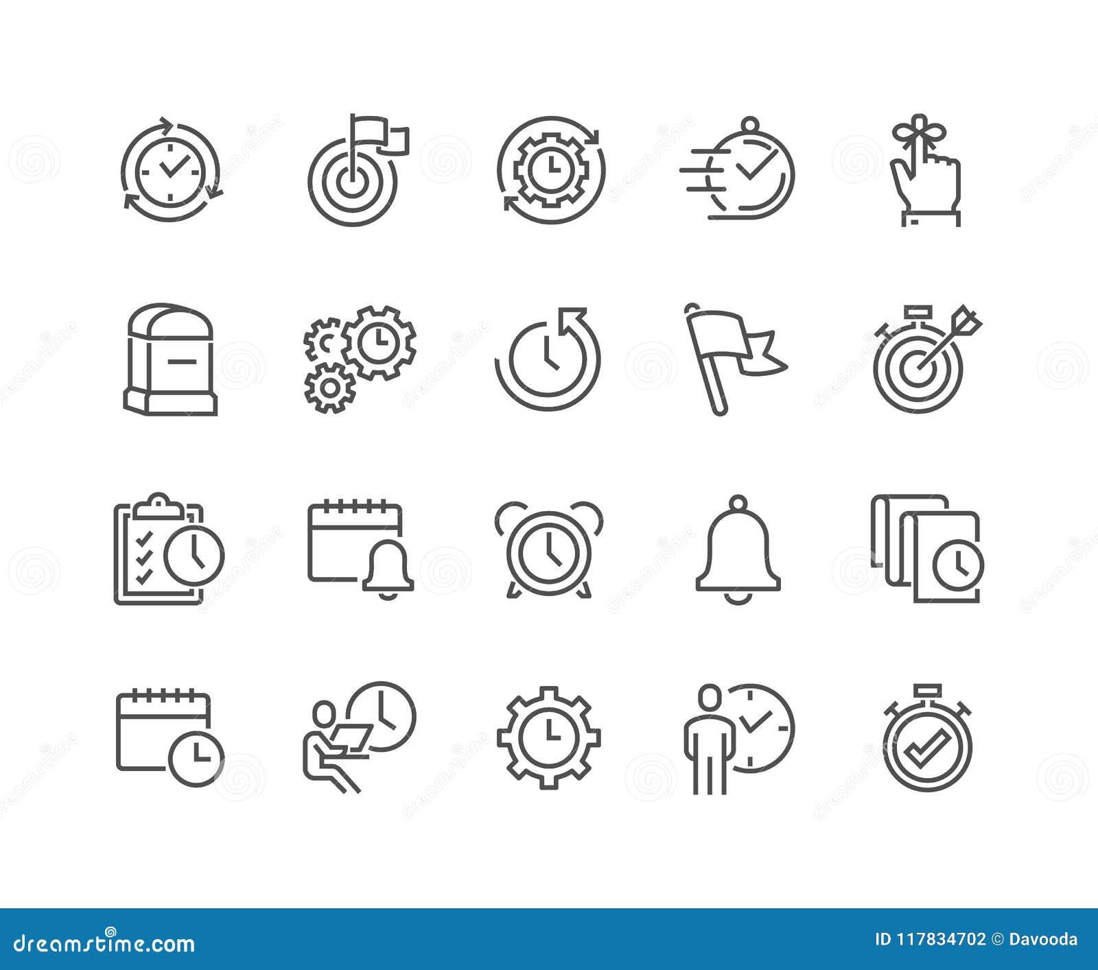 Linie Zeit-Management-Ikonen
