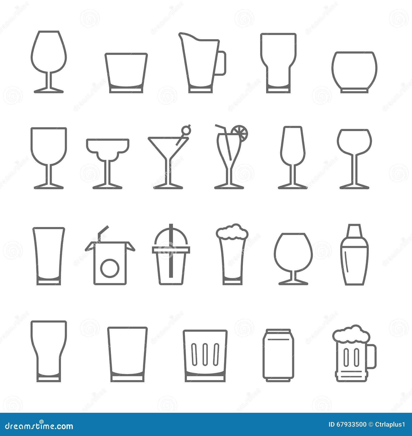 Linien Ikone eingestellt - Glas und Getränk