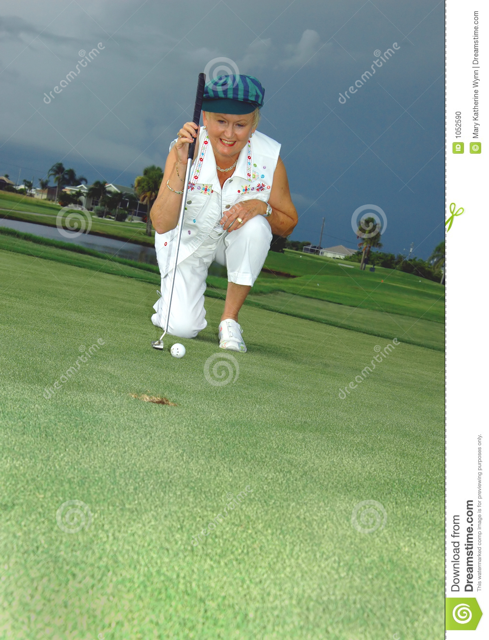 Lining up her putt