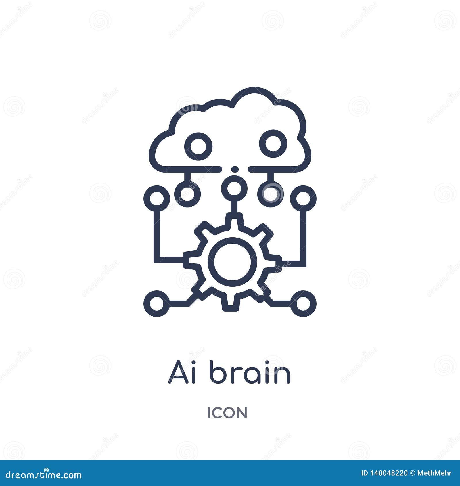 Liniowa ai móżdżkowa ikona od Sztucznej intellegence i przyszłości technologii zarysowywa kolekcję Cienieje kreskowego ai móżdżko