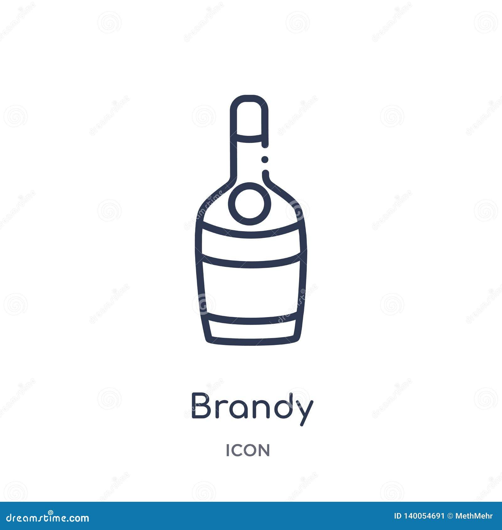 Liniowa brandy ikona od napoju konturu kolekcji Cienieje kreskowego brandy wektor odizolowywającego na białym tle brandy modny