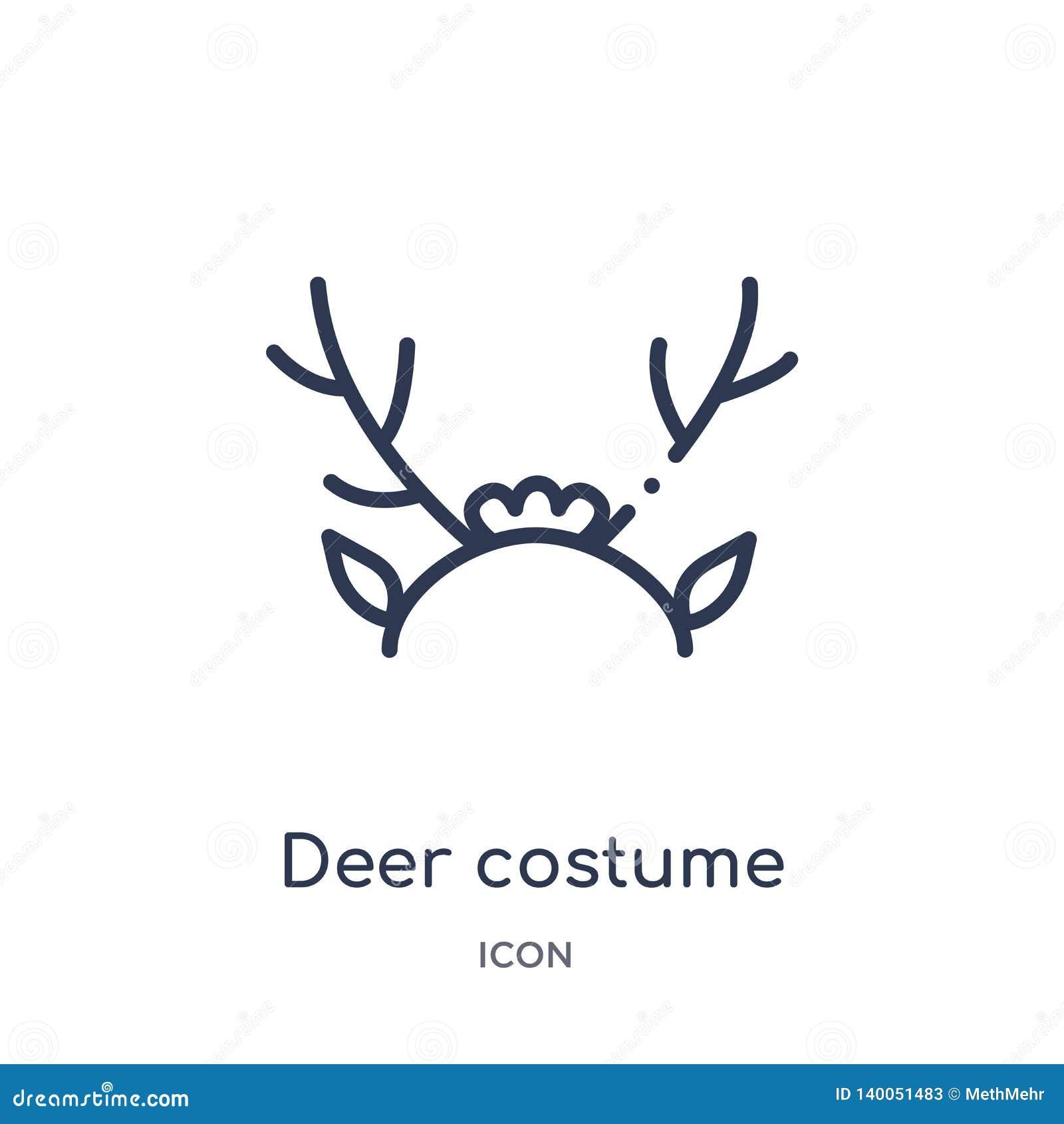 Liniowa jelenia kostiumowa ikona od bożych narodzeń zarysowywa kolekcję Cienieje kreskowego jeleniego kostiumowego wektor odizolo