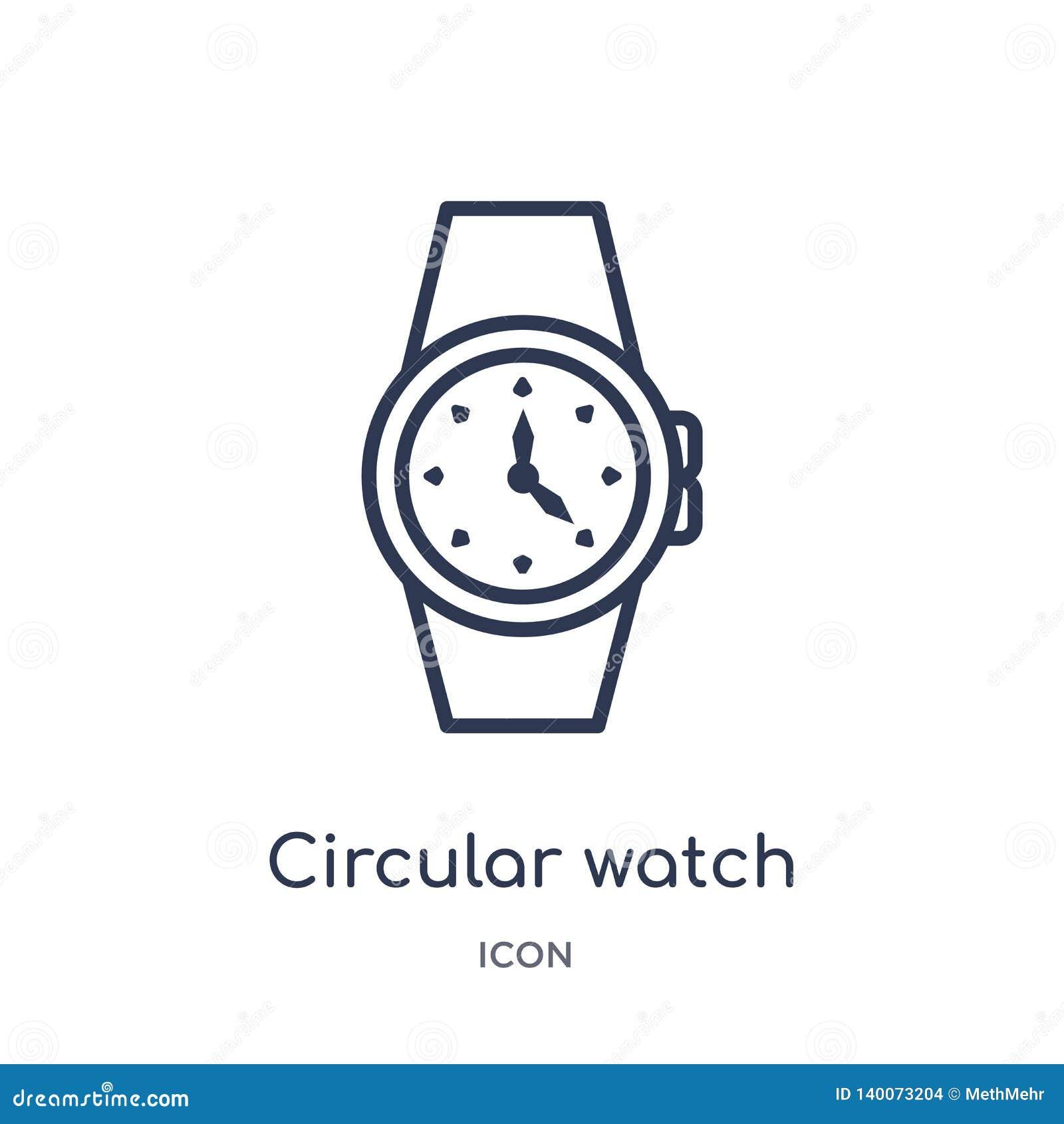 Liniowa kółkowa zegarek ikona od Ogólnego konturu kolekcji Cienka kreskowa kółkowa zegarek ikona odizolowywająca na białym tle ku