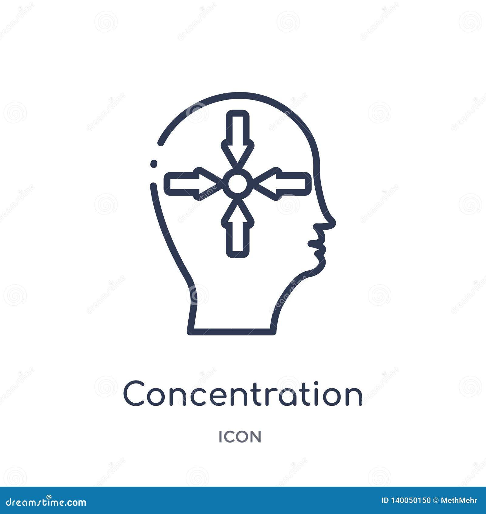 Liniowa koncentracyjna ikona od mózg procesu konturu kolekcji Cienieje kreskowej koncentracji wektor odizolowywającego na białym