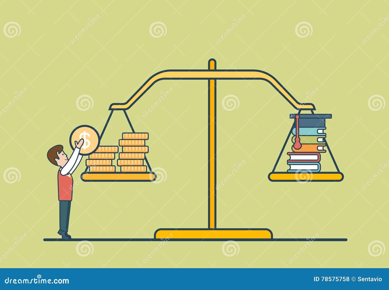 Liniowa mieszkanie monety książki skala, mężczyzna libra wektor