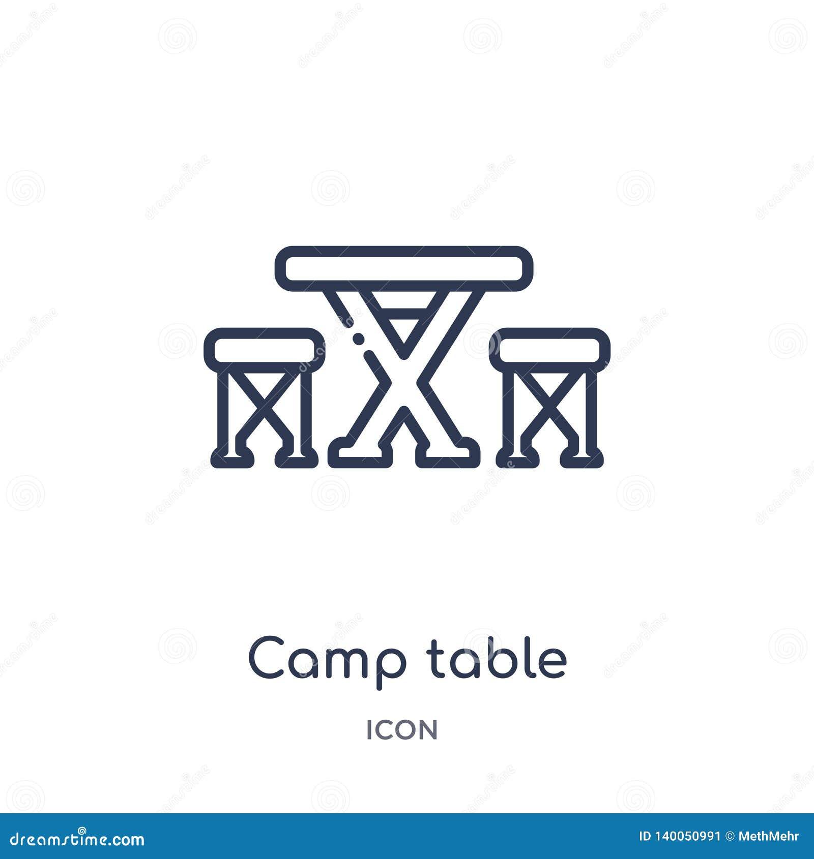 Liniowa obozu stołu ikona od campingu konturu kolekcji Cienki linia obozu stołu wektor odizolowywający na białym tle obozowy stół
