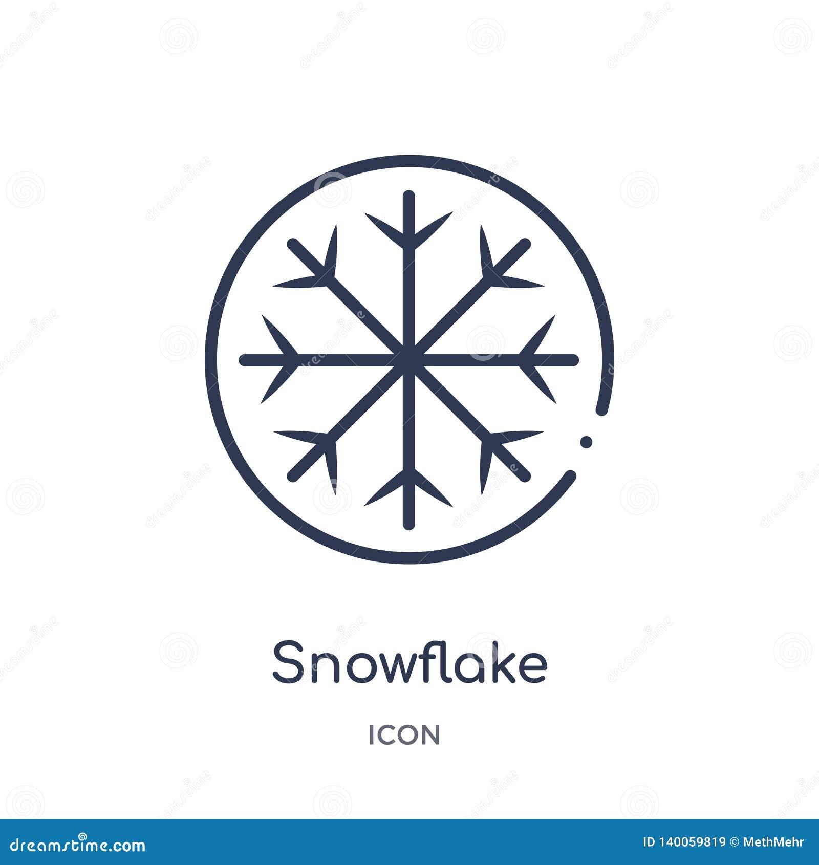 Liniowa płatek śniegu ikona od Hokejowej kontur kolekcji Cienieje kreskową płatek śniegu ikonę odizolowywającą na białym tle płat