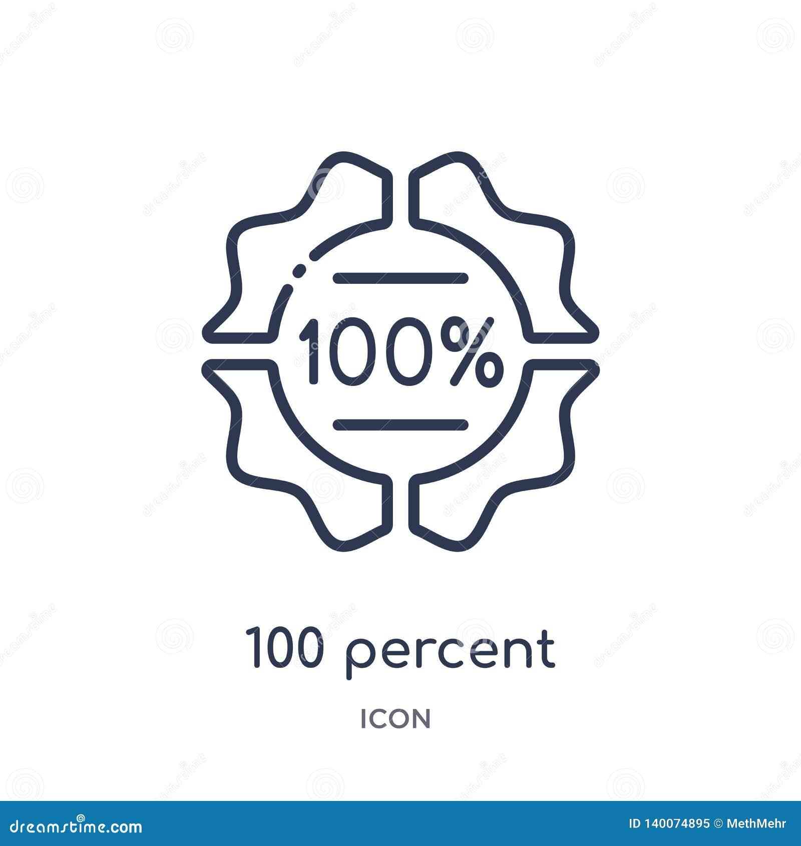 Liniowa 100 procentów ikona od Różnej kontur kolekcji Cienieje linię 100 procentów ikona odizolowywająca na białym tle 100