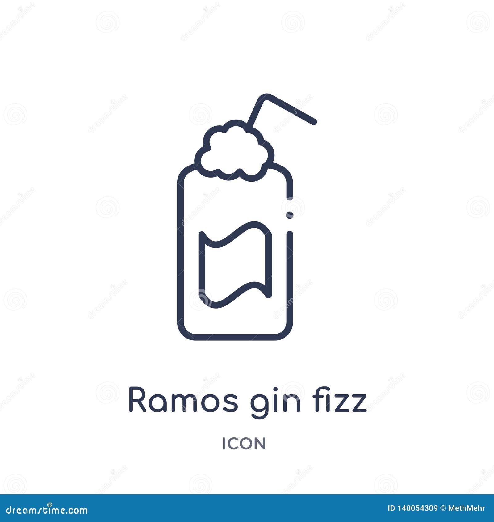 Liniowa Ramos dżinu fizz ikona od napojów zarysowywa kolekcję Cienki kreskowy Ramos dżinu fizz wektor odizolowywający na białym t