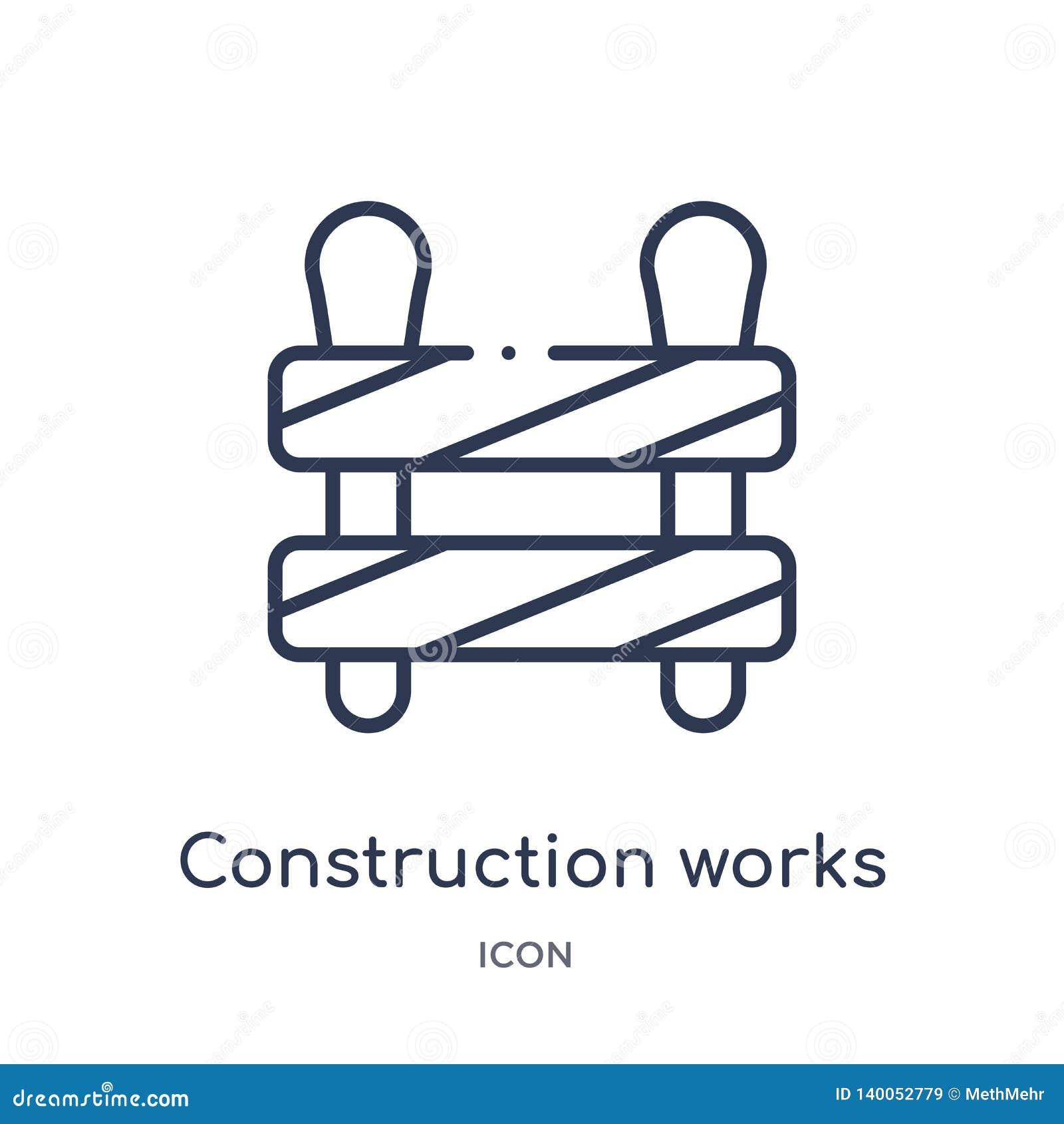 Liniowa robot budowlany ikona od budów narzędzi zarysowywa kolekcję Cienieje kreskowego robot budowlany wektor odizolowywającego