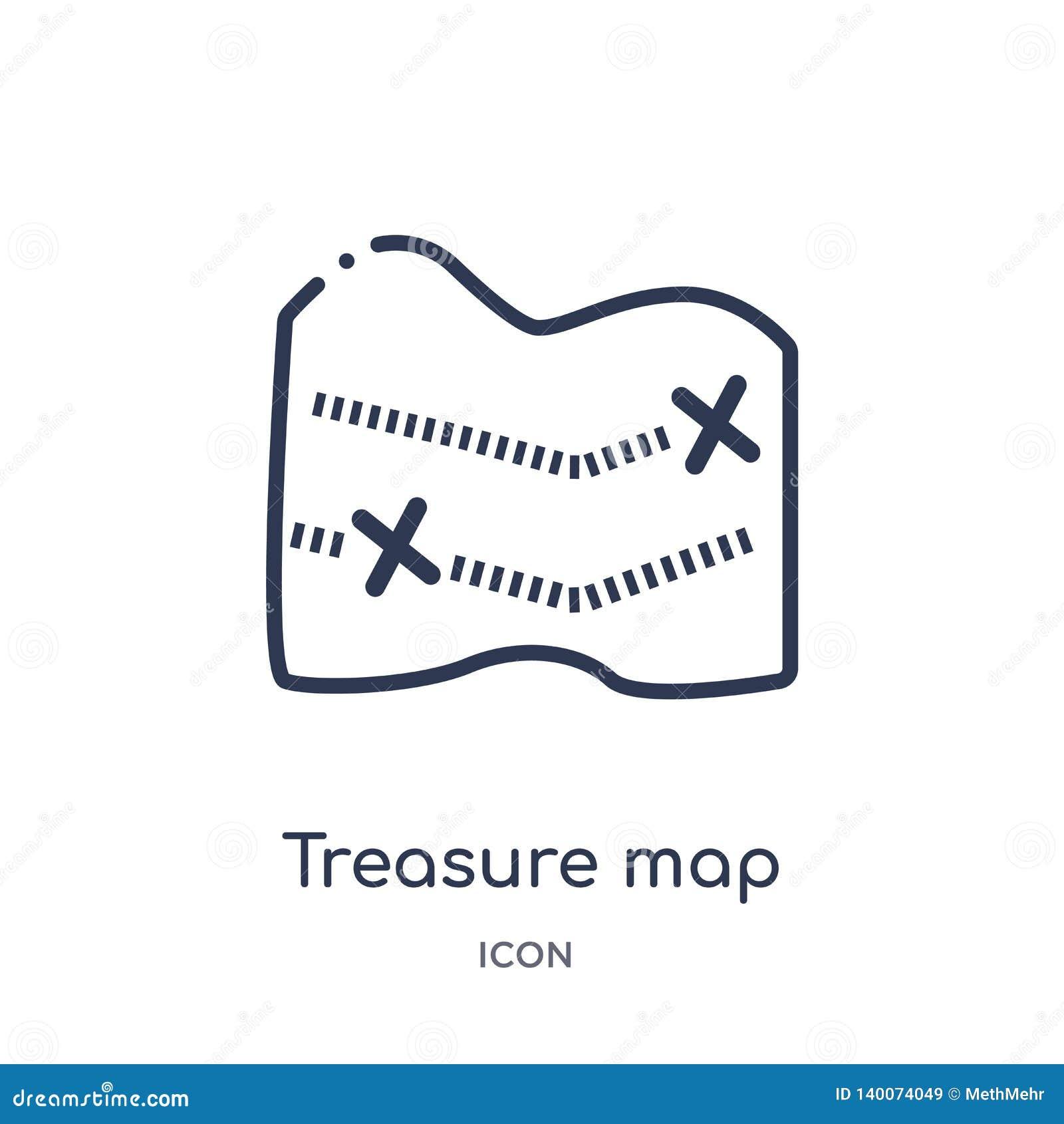 Liniowa skarb mapa z ikoną od map i flagi x zarysowywamy kolekcję Cienka kreskowa skarb mapa z ikoną odizolowywającą na bielu x