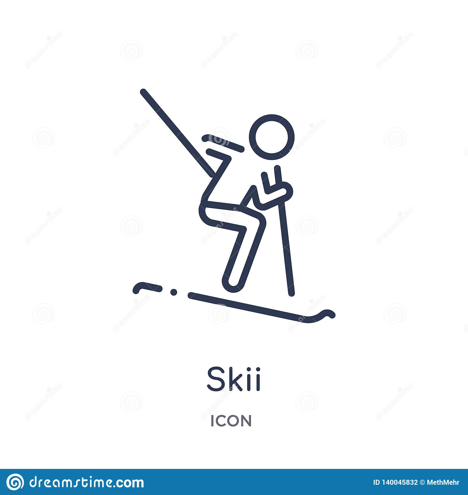 Liniowa skii ikona od aktywności i hobby zarysowywamy kolekcję Cienieje kreskowego skii wektor odizolowywającego na białym tle sk