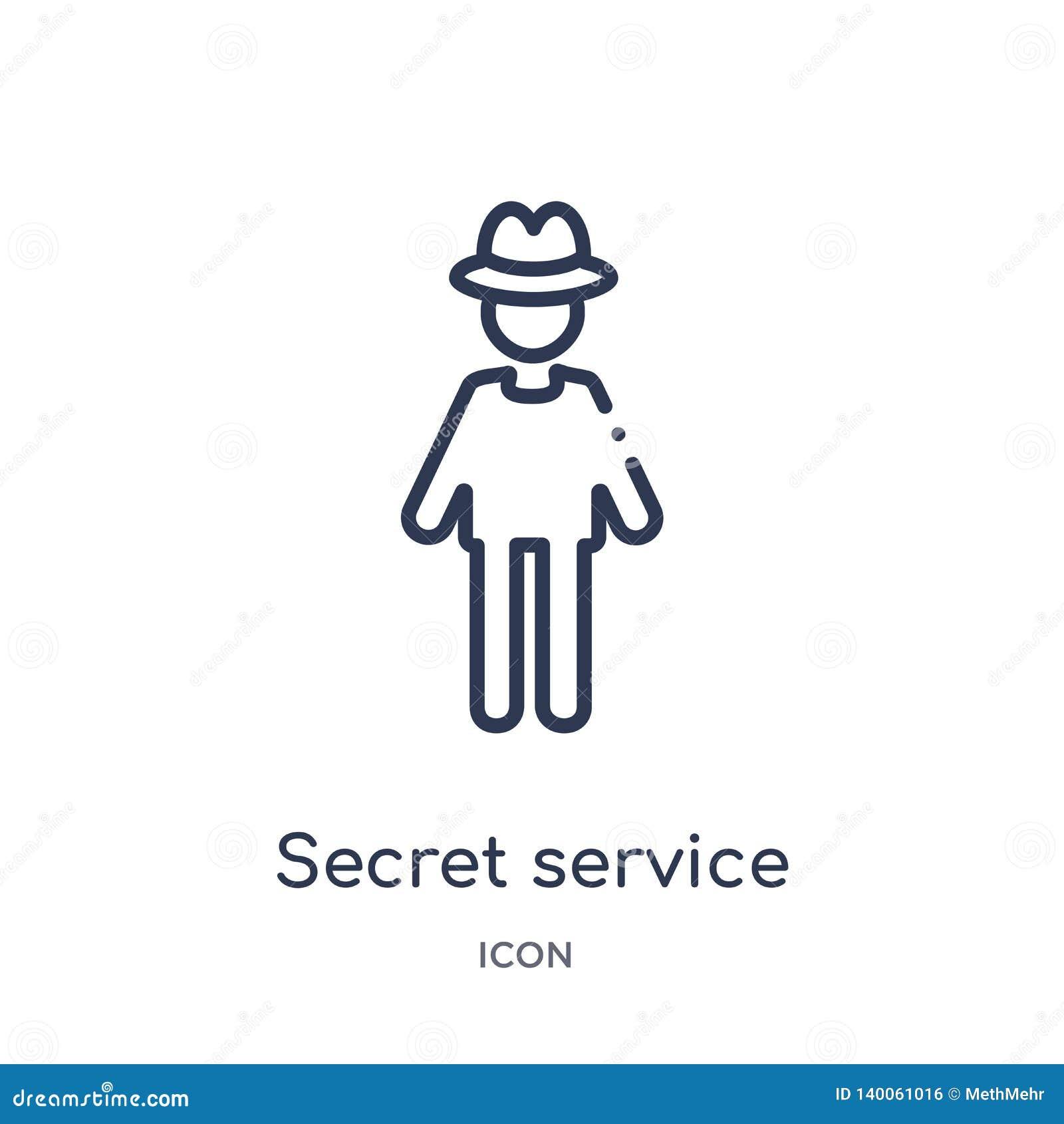 Liniowa tajnej służby ikona od Akcydensowych zysków zarysowywa kolekcję Cienieje kreskową tajnej służby ikonę odizolowywającą na