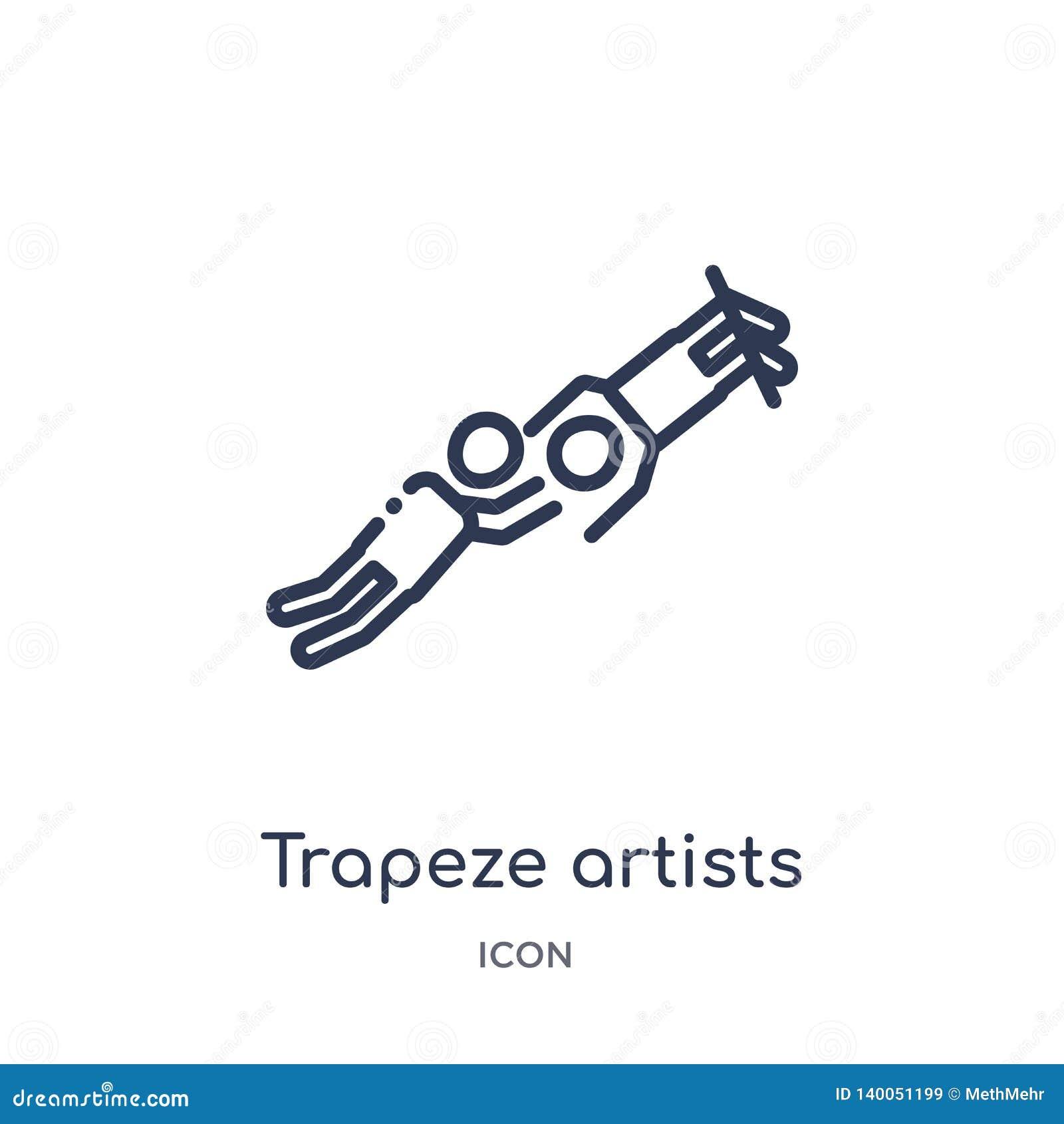 Liniowa trapeze artystów mężczyzny ikona od Cyrkowej kontur kolekcji Ciency kreskowi trapeze artyści obsługują wektor odizolowywa
