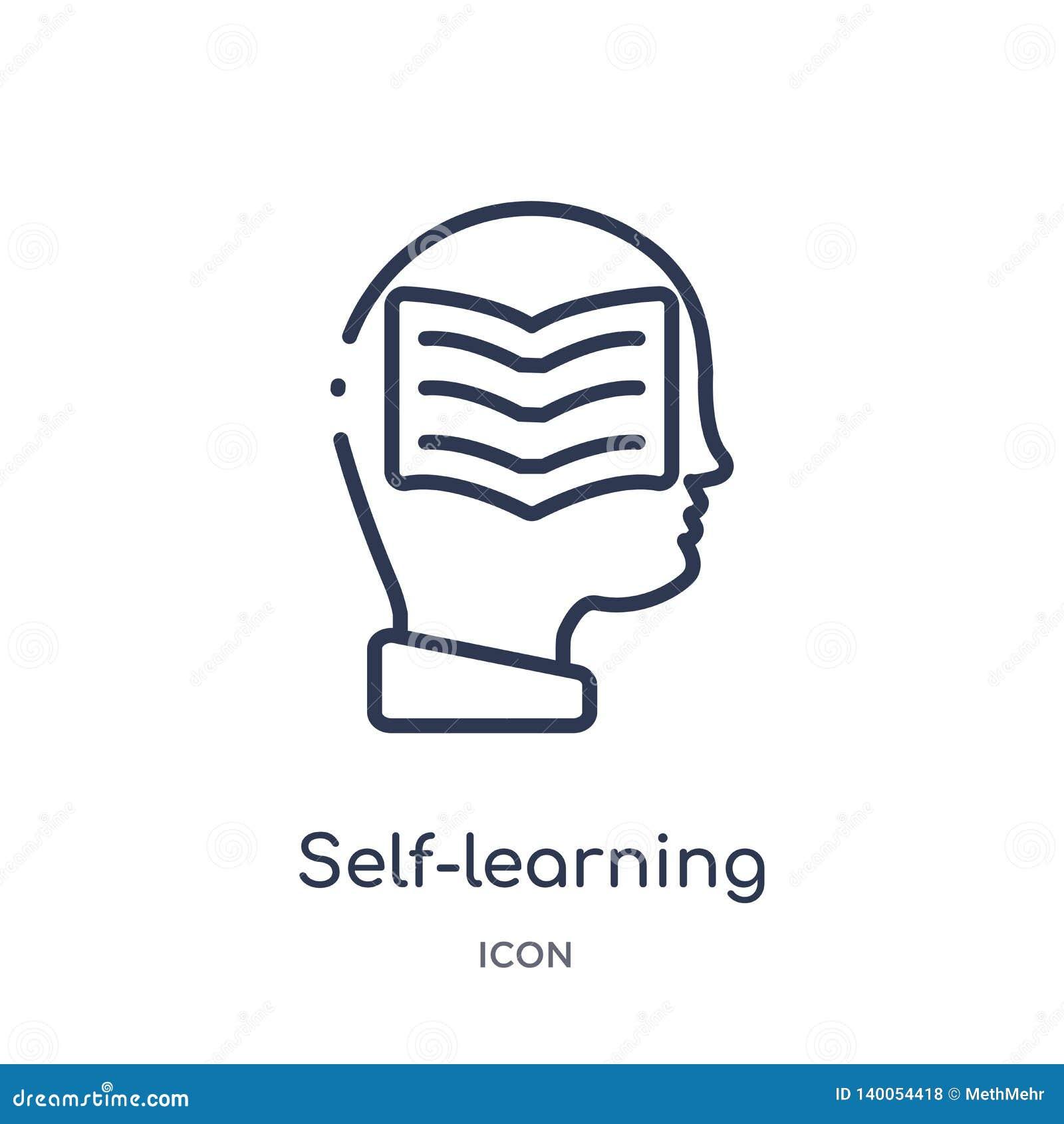 Liniowa uczenie ikona od Elearning i edukacja zarysowywamy kolekcję Cienieje kreskowego uczenie wektor odizolowywającego na bielu