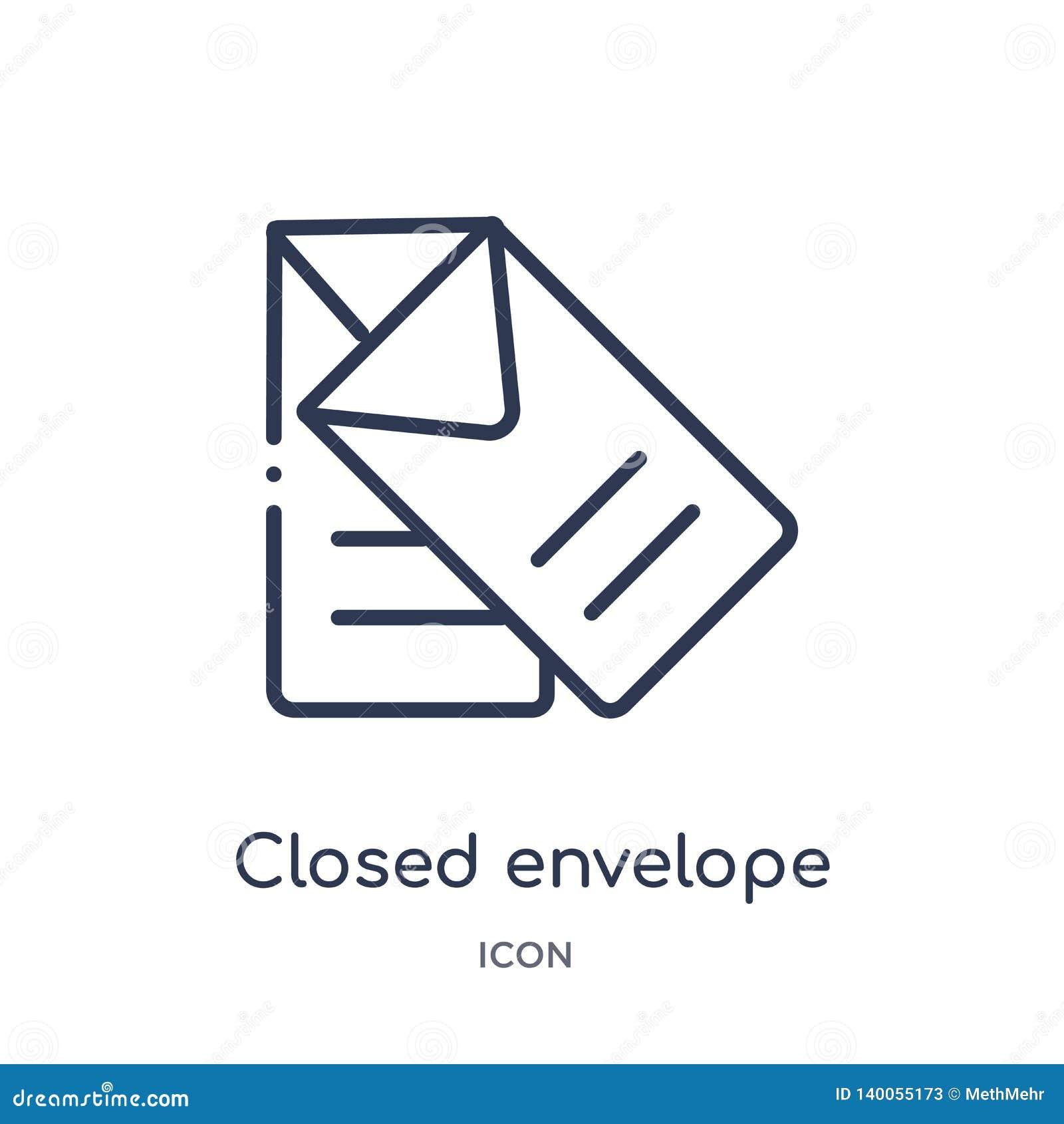 Liniowa zamknięta kopertowa ikona od edukacja konturu kolekcji Cienieje kreskowego zamkniętego kopertowego wektor odizolowywające