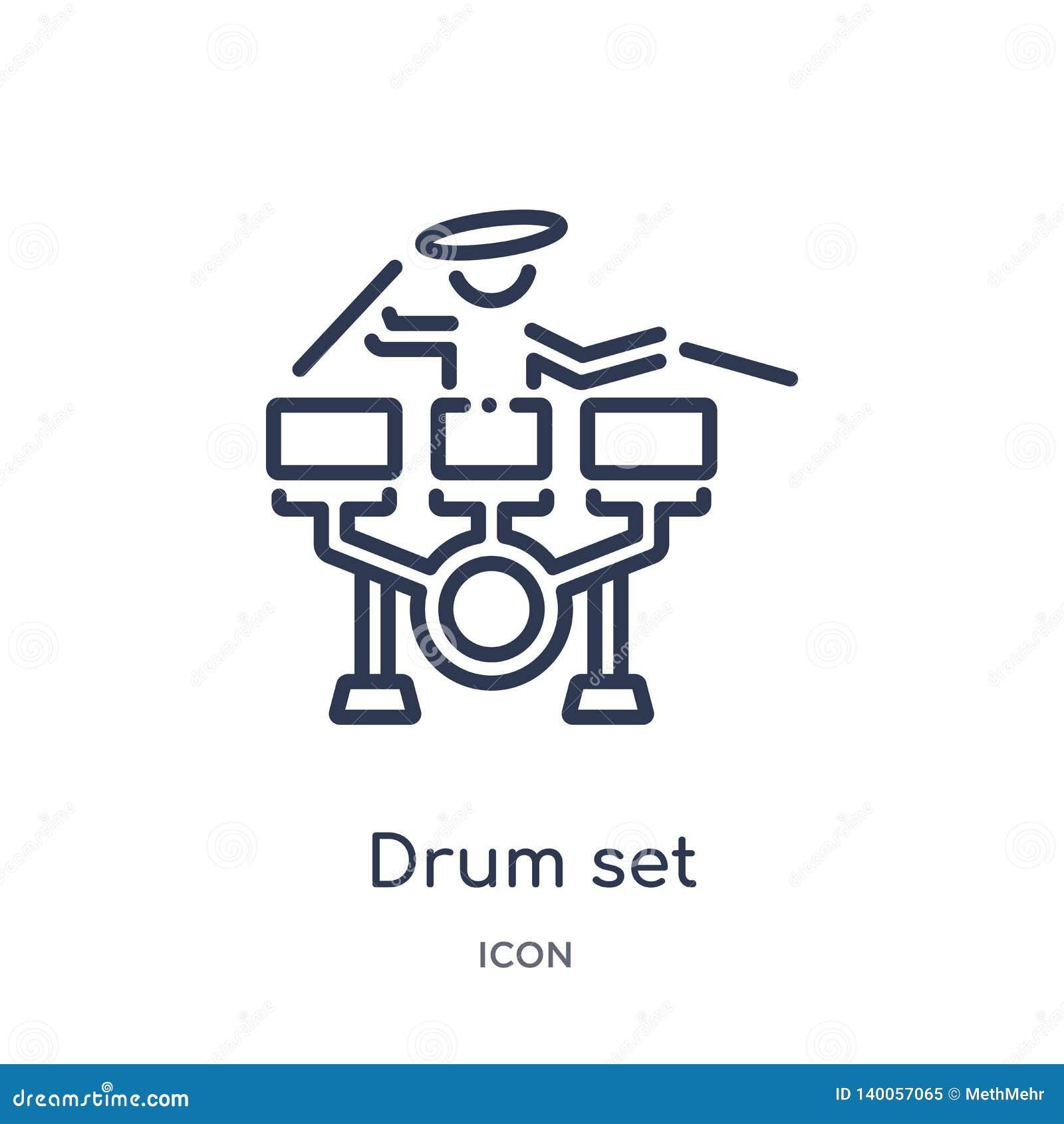 Liniowego bębenu ustalona ikona od czasu wolnego konturu kolekcji Cienkiego kreskowego bębenu ustalony wektor odizolowywający na