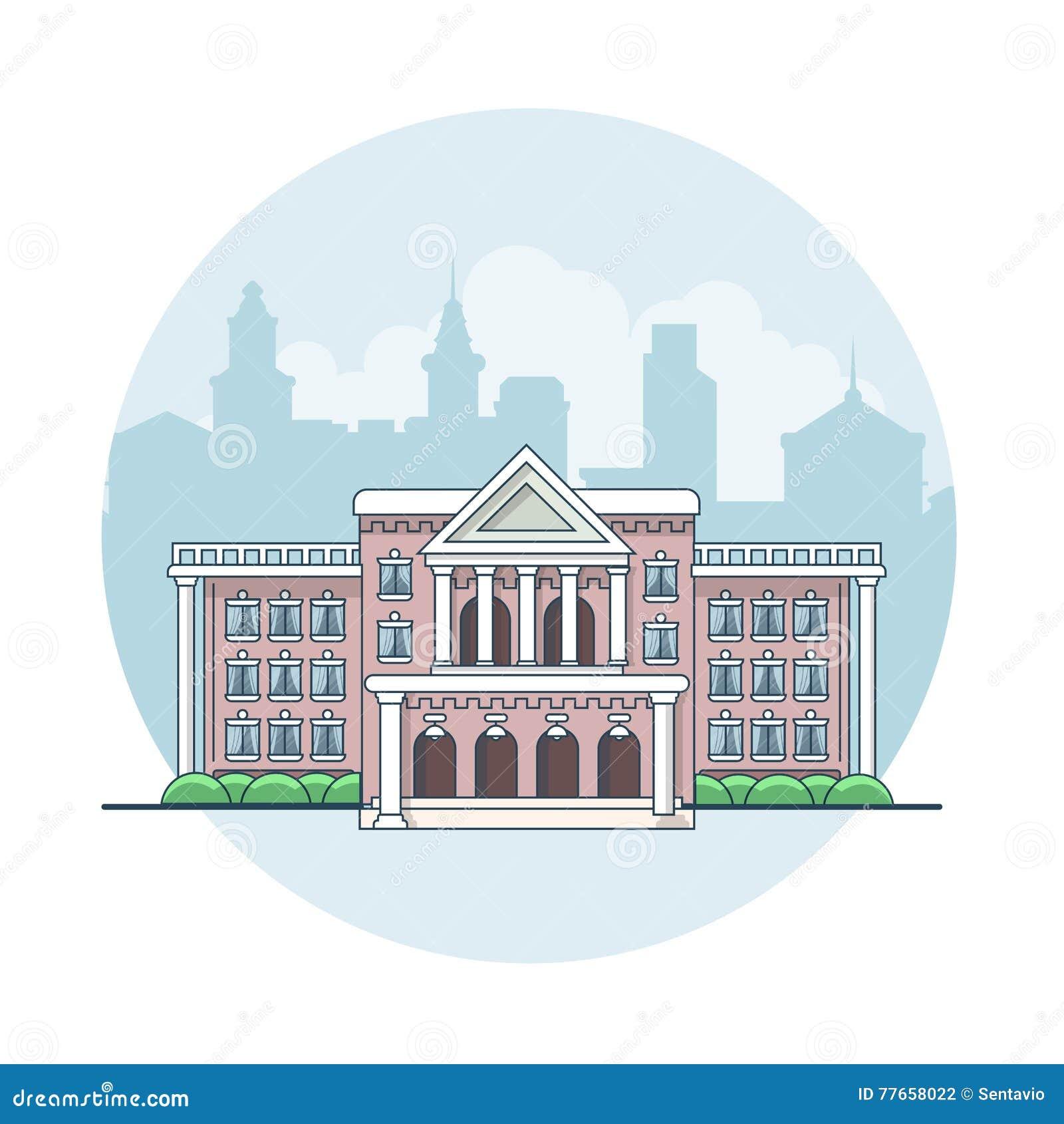 Liniowego Płaskiego budynku fasadowa wektorowa nieruchomość