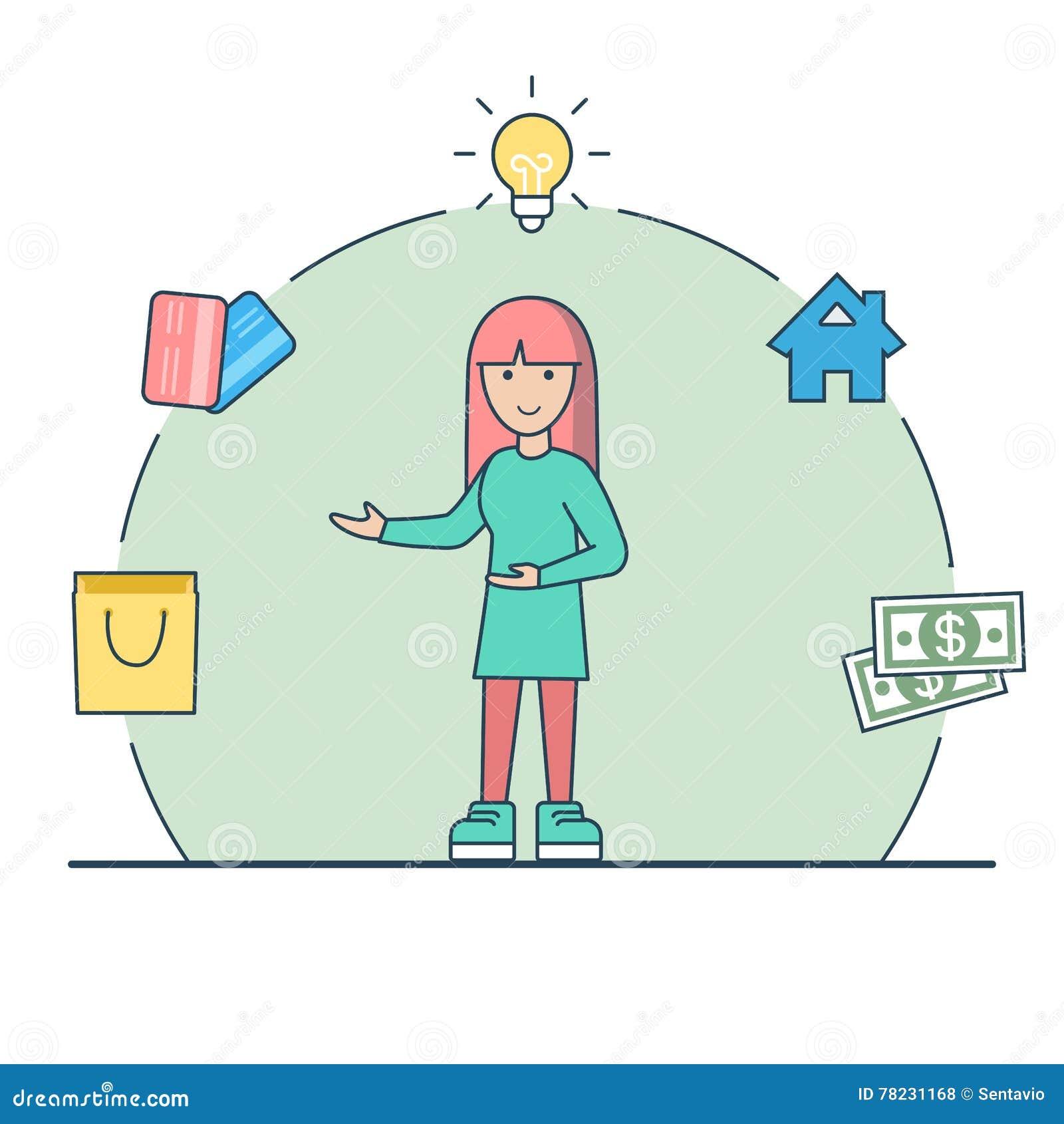 Liniowego Płaskiego kobieta lampowego domu pieniądze kredytowe karty ve