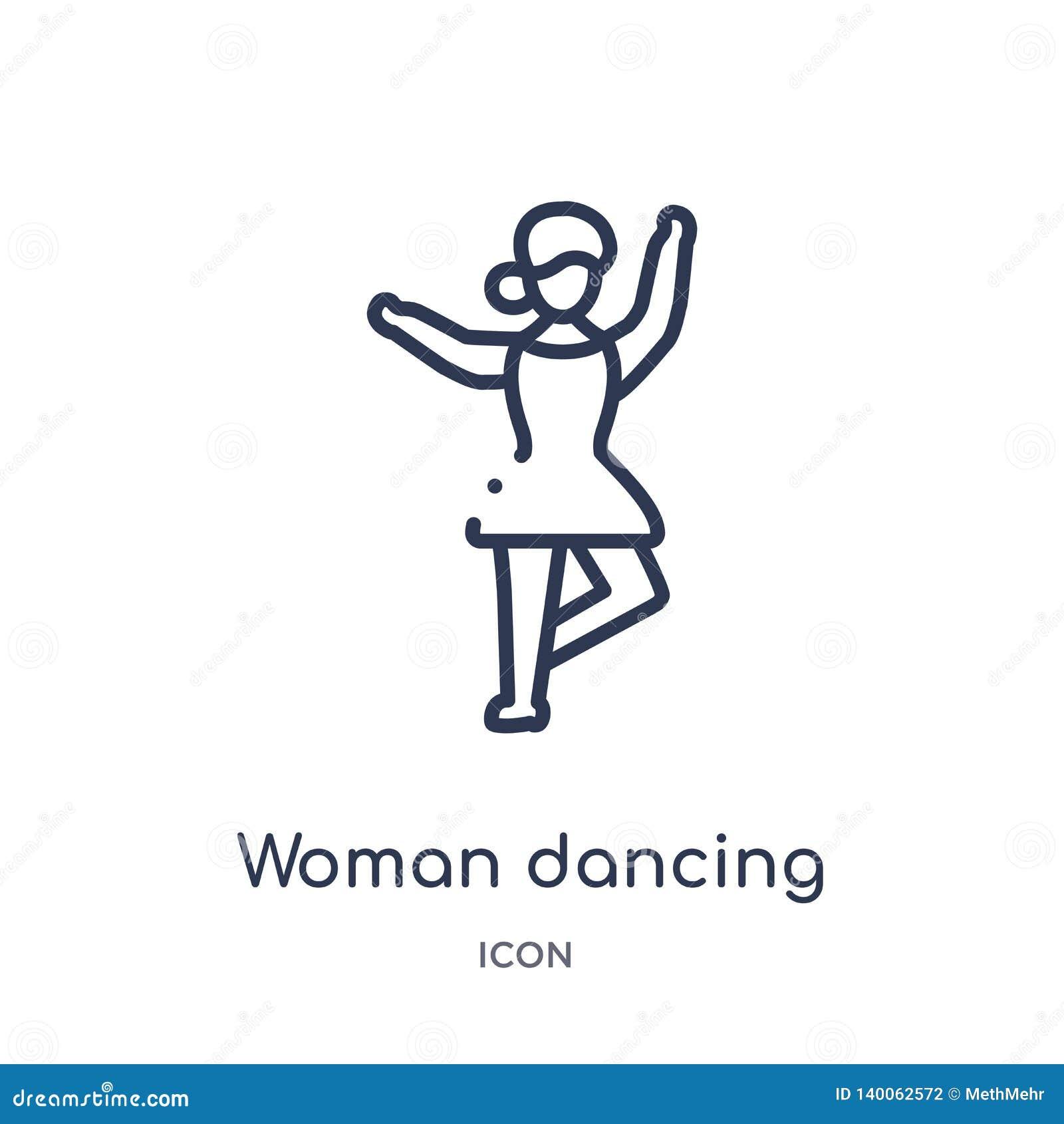 Liniowej kobiety dancingowa baletnicza ikona od dam zarysowywa kolekcję Cienieje kreskowej kobiety dancingową baletniczą ikonę od