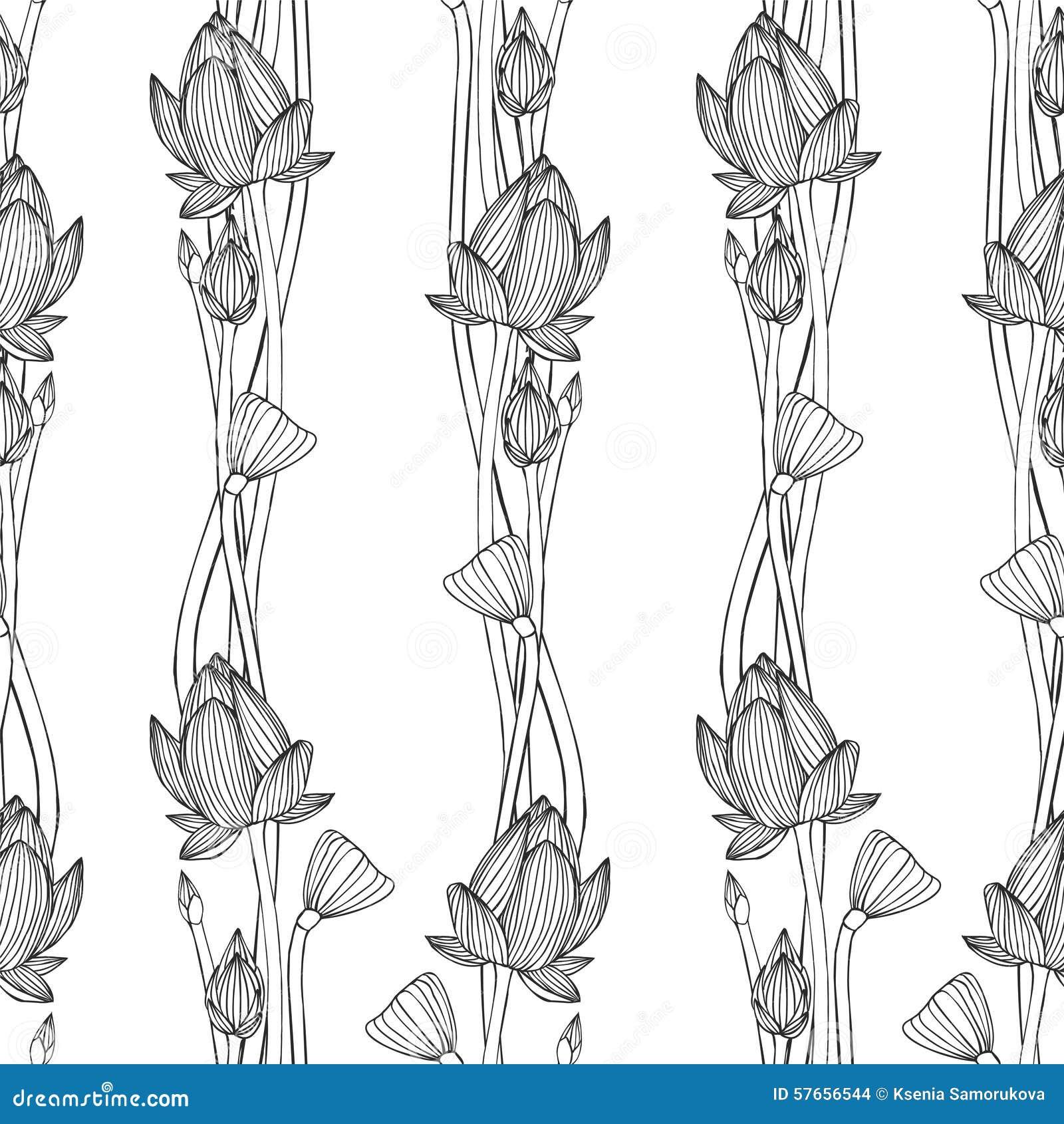 Liniowy bezszwowy wzór - lotosowy kwiat