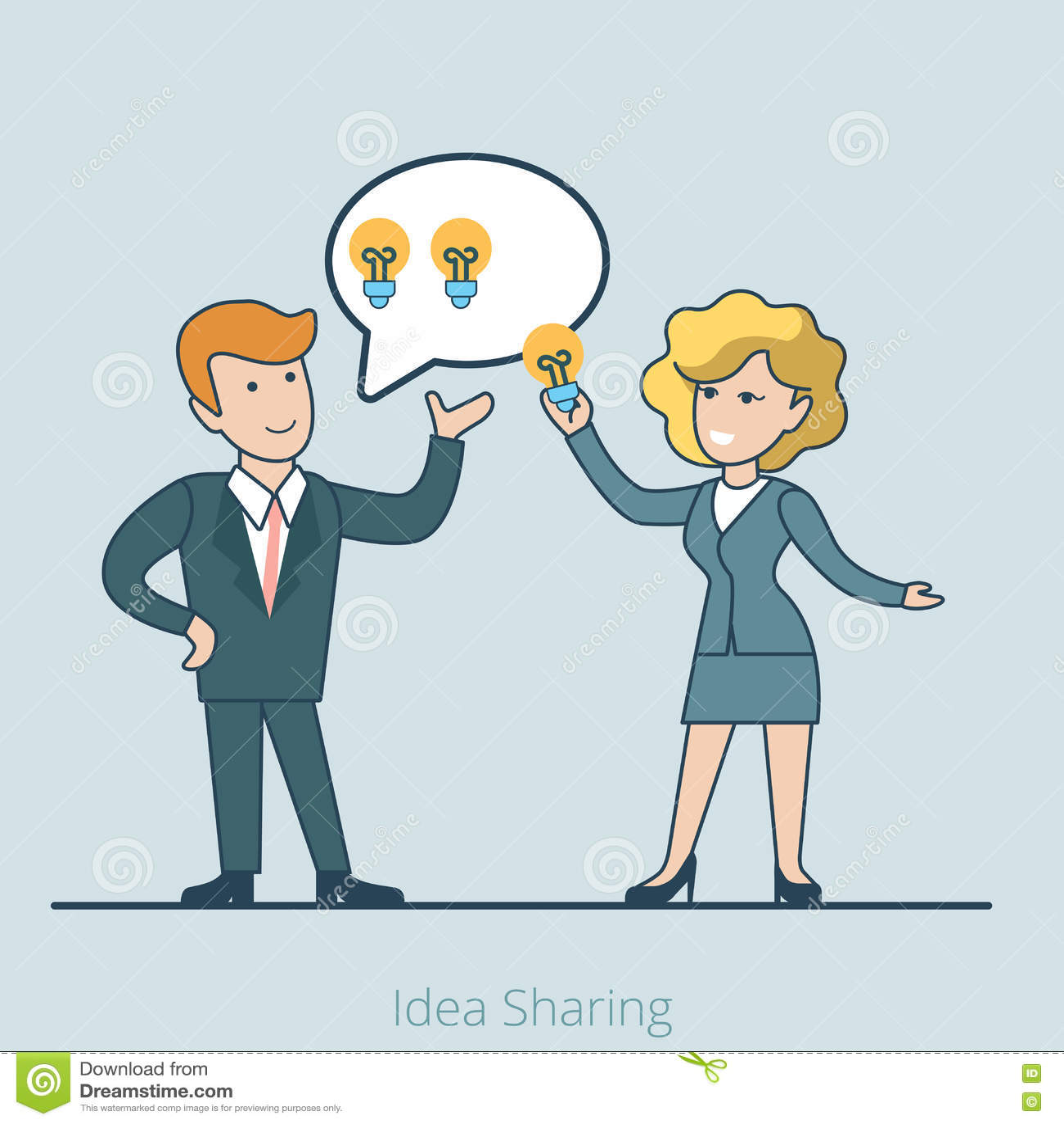 Liniowy Płaski Biznesowy pomysł dzieli ludzi il