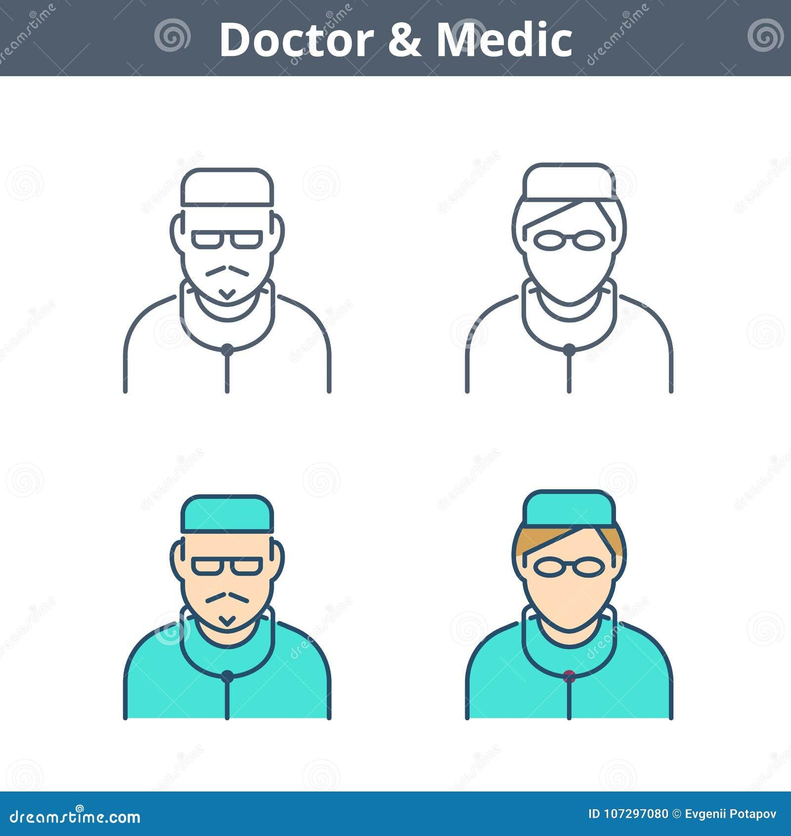 Linjär avataruppsättning för ockupationer: doktor läkare, sjuksköterska Tunn outlin