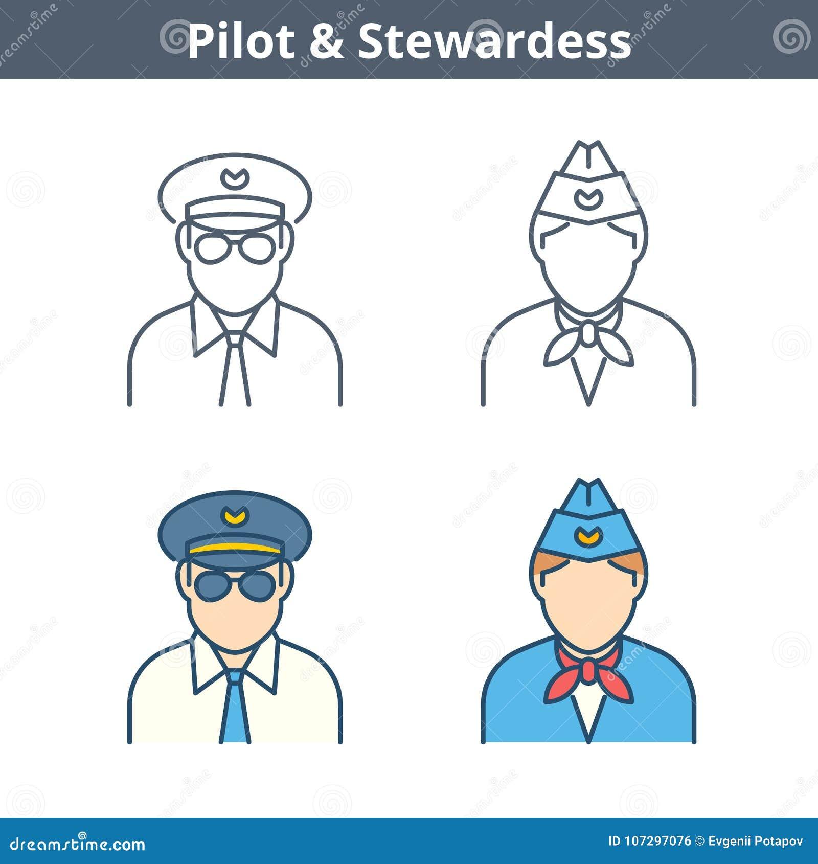 Linjär avataruppsättning för ockupationer: pilot stewardess Gör översikt I tunnare