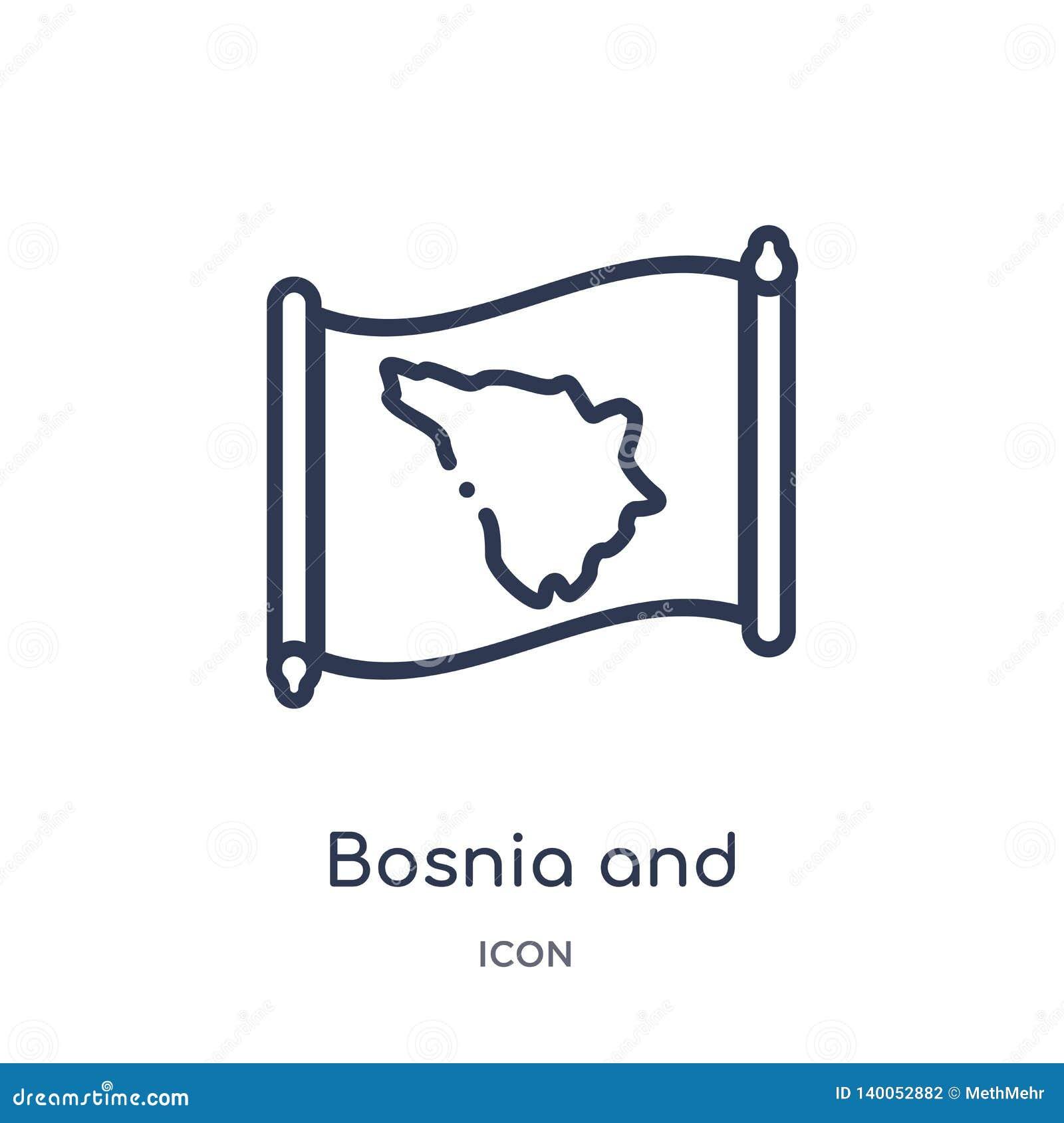 Linjär Bosnien och Hercegovina översiktssymbol från Countrymaps översiktssamling Den tunna linjen Bosnien och Hercegovina översik