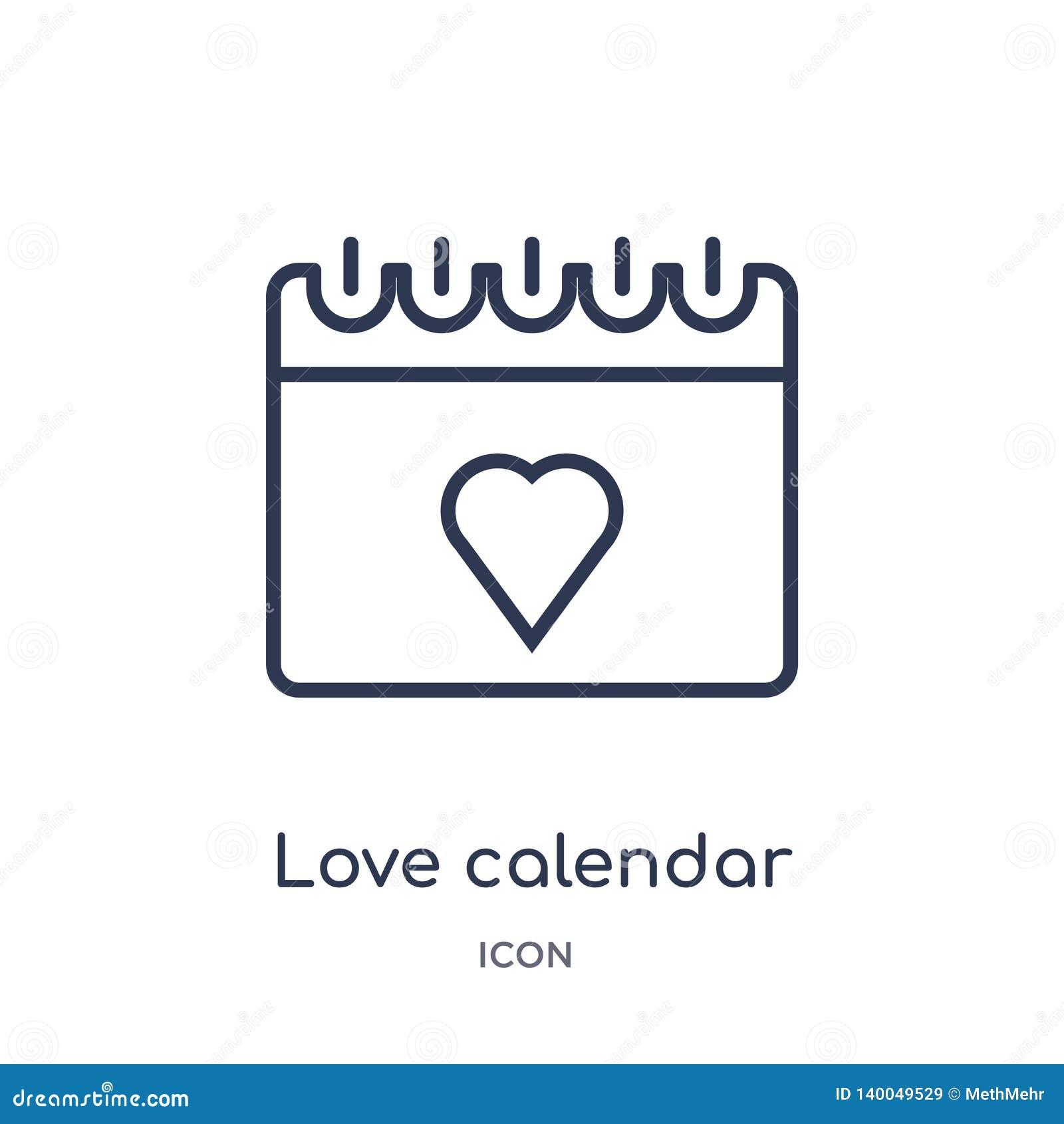 Linjär förälskelsekalendersymbol från samling för översikt för födelsedagparti Tunn linje förälskelsekalendervektor som isoleras