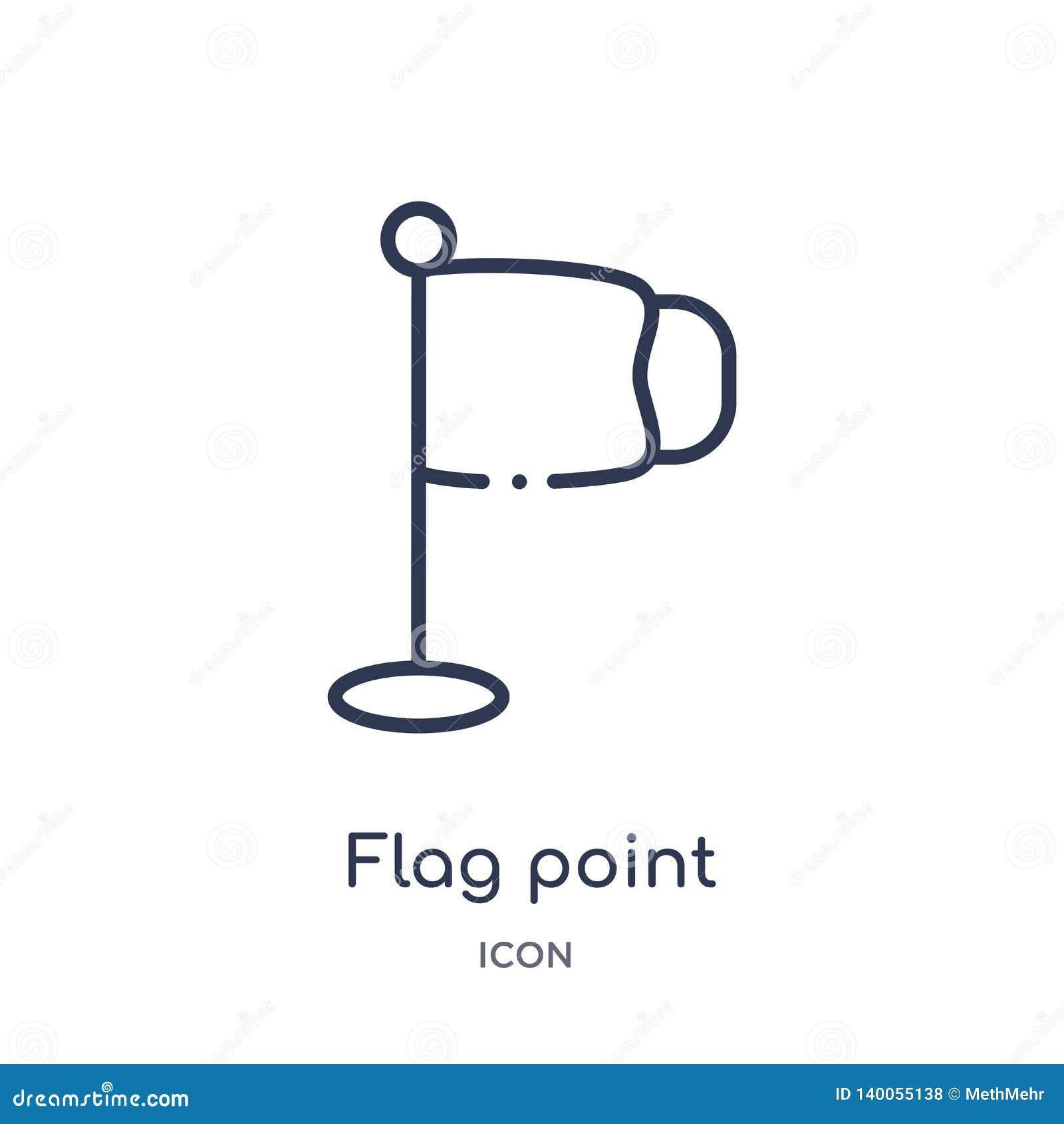 Linjär flaggapunktsymbol från utbildningsöversiktssamling Tunn linje flaggapunktvektor som isoleras på vit bakgrund flaggapunkt