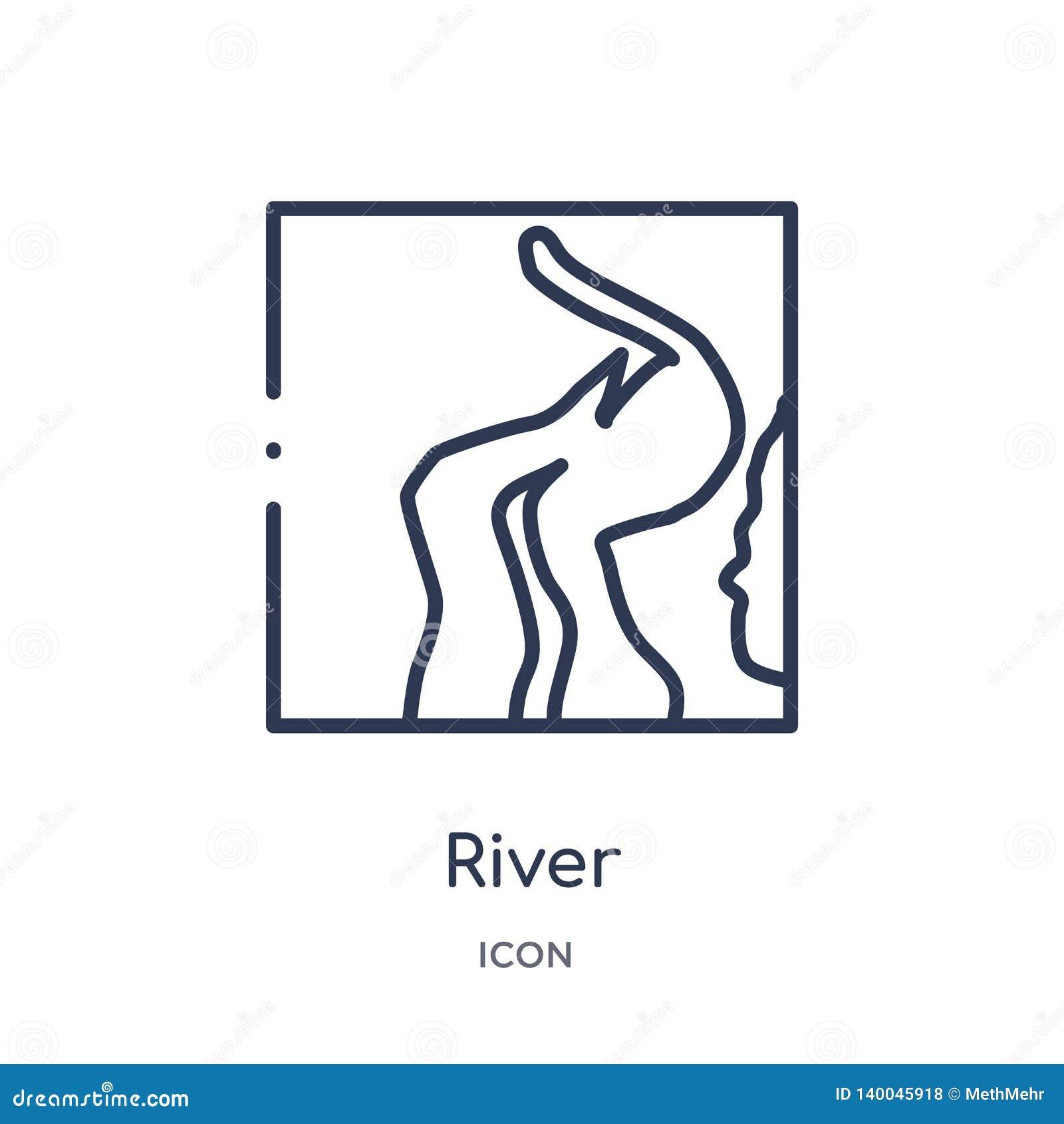 Linjär flodsymbol från Afrika översiktssamling Tunn linje flodvektor som isoleras på vit bakgrund moderiktig illustration för flo