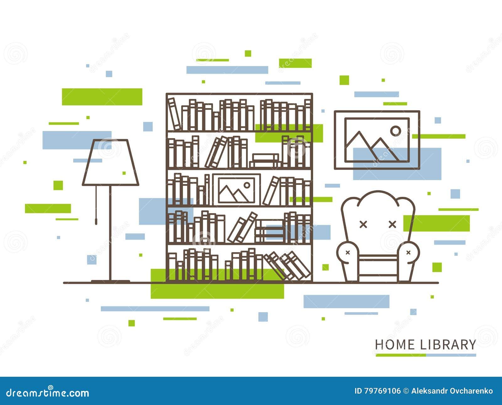 Linjär illustration av modernt märkes- inre utrymme för hem- arkiv